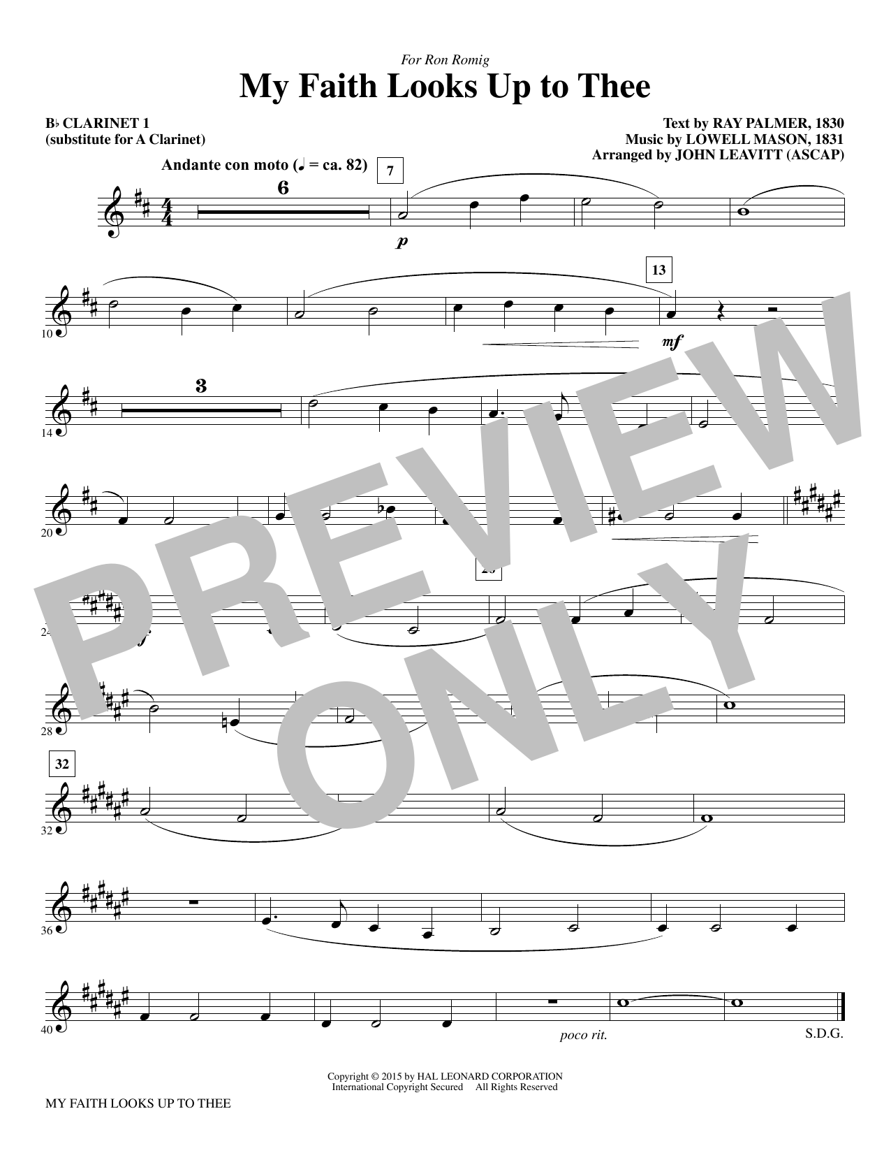 My Faith Looks Up To Thee - Bb Clarinet 1 (sub. A Cl. 1) Sheet Music