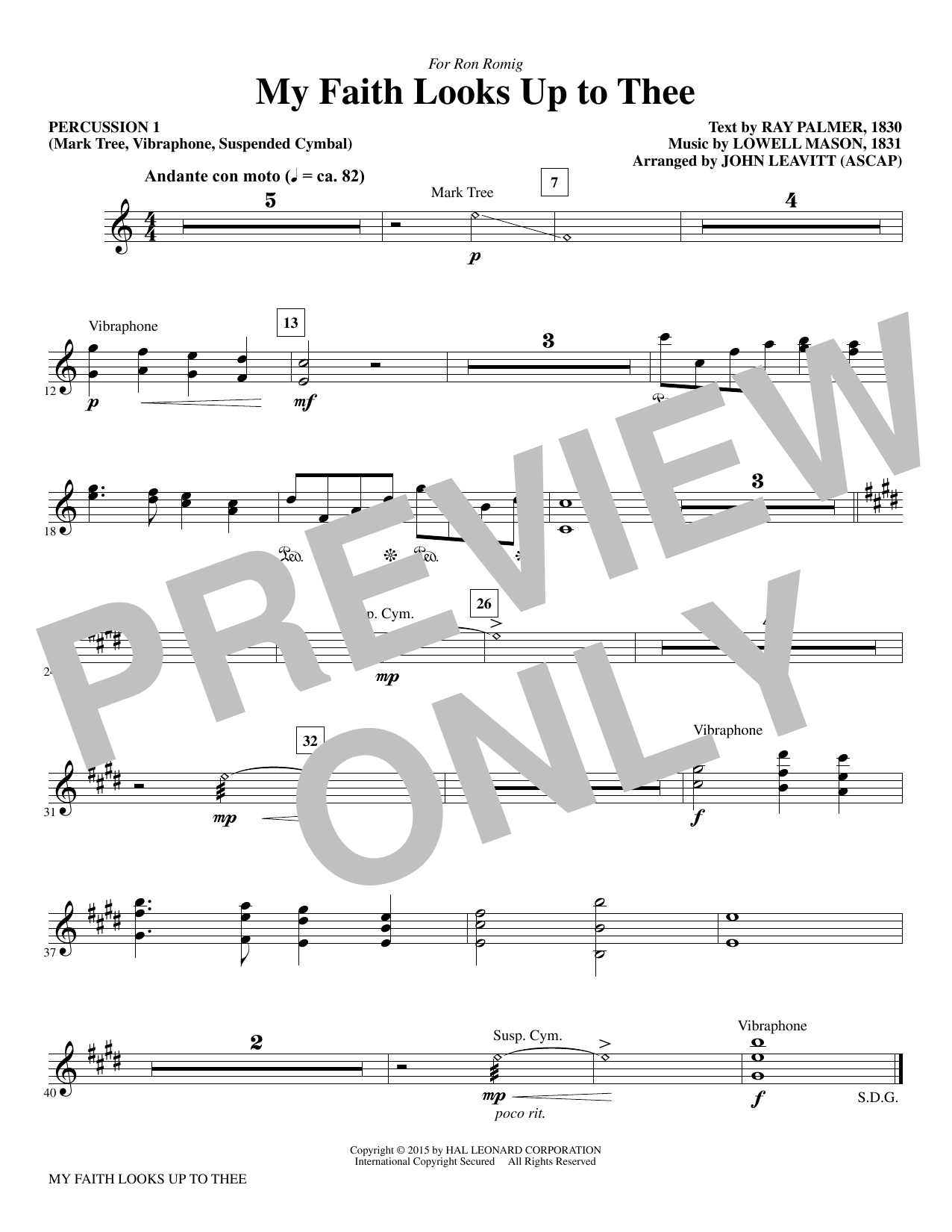 My Faith Looks Up To Thee - Percussion 1 Sheet Music