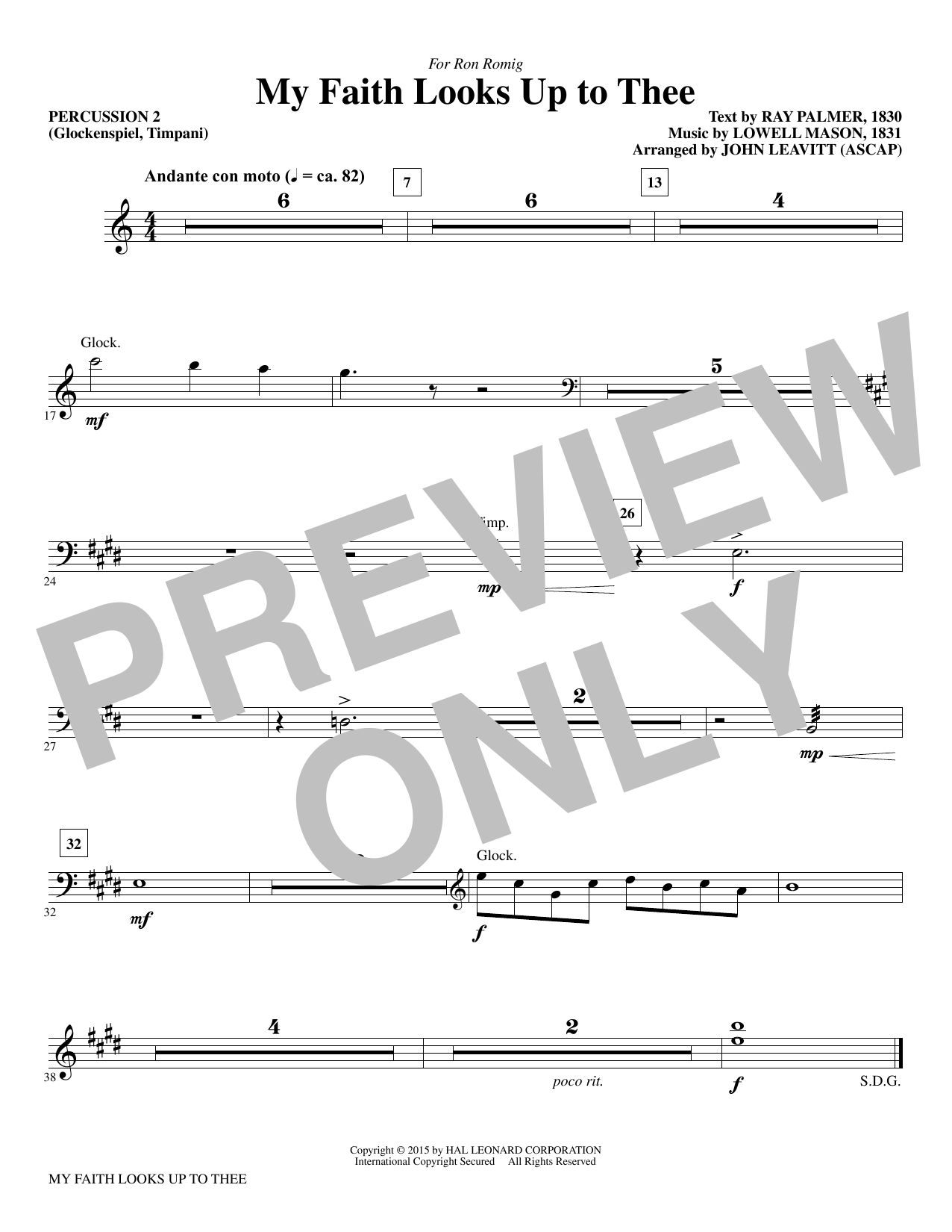 My Faith Looks Up To Thee - Percussion 2 (Choir Instrumental Pak)