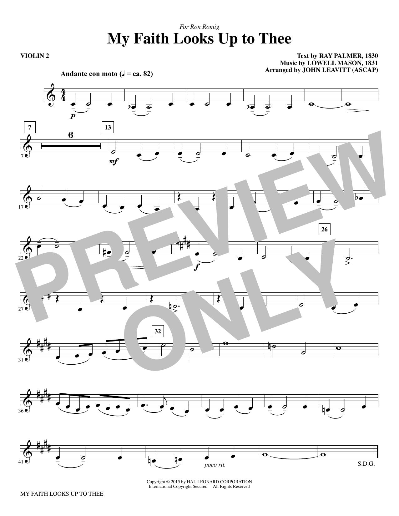 My Faith Looks Up To Thee - Violin 2 (Choir Instrumental Pak)