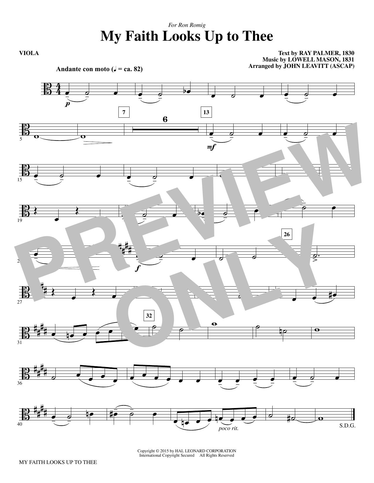 My Faith Looks Up To Thee - Viola (Choir Instrumental Pak)