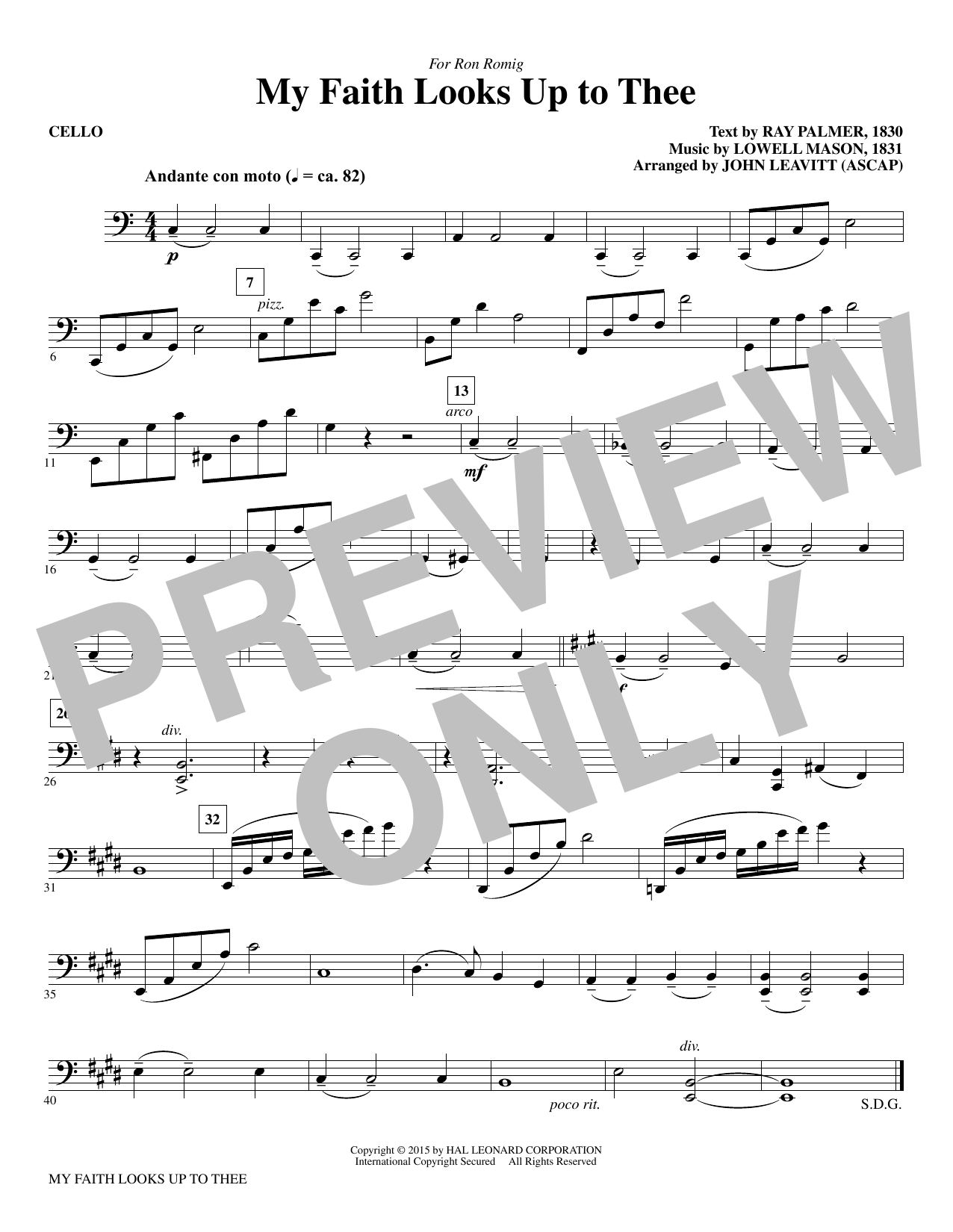 My Faith Looks Up To Thee - Cello Sheet Music