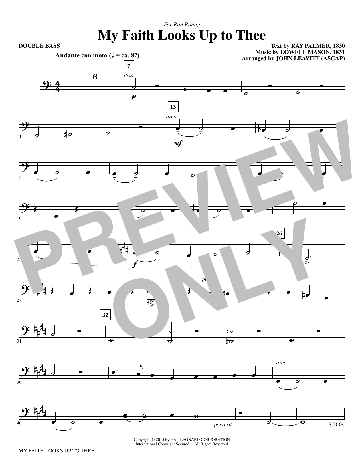 My Faith Looks Up To Thee - Double Bass Sheet Music