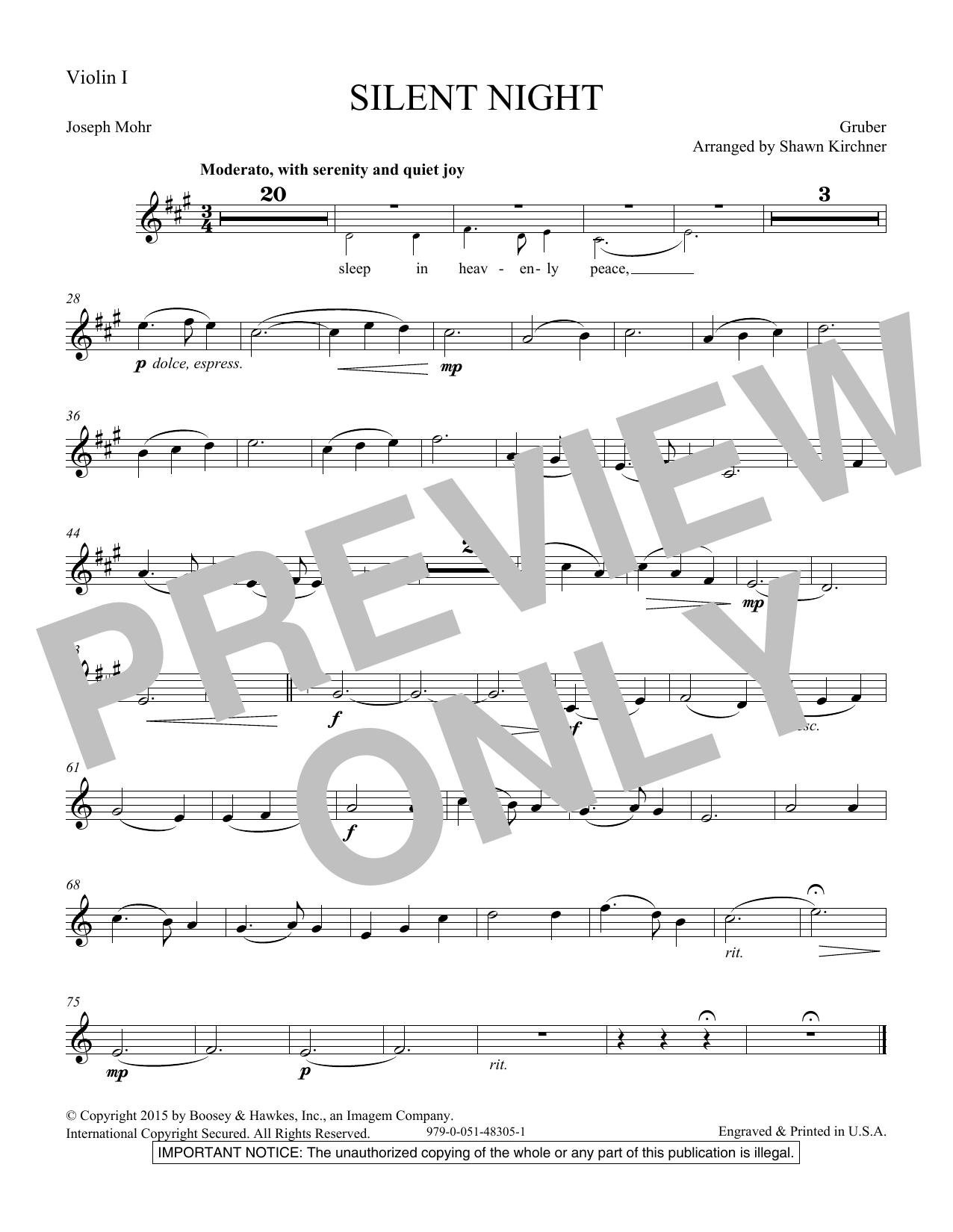 Silent Night - Violin 1 (Choir Instrumental Pak)