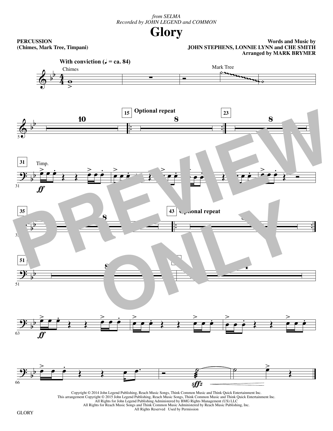 Glory - Percussion Sheet Music