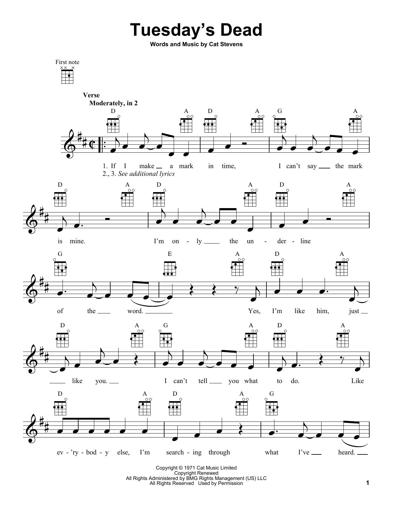 Tablature guitare Tuesday's Dead de Yusuf Islam - Ukulele