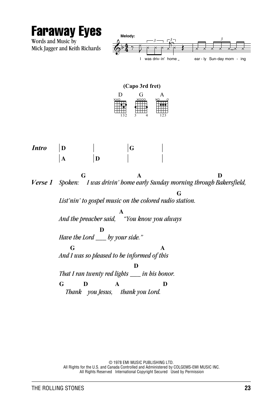 Faraway Eyes Sheet Music