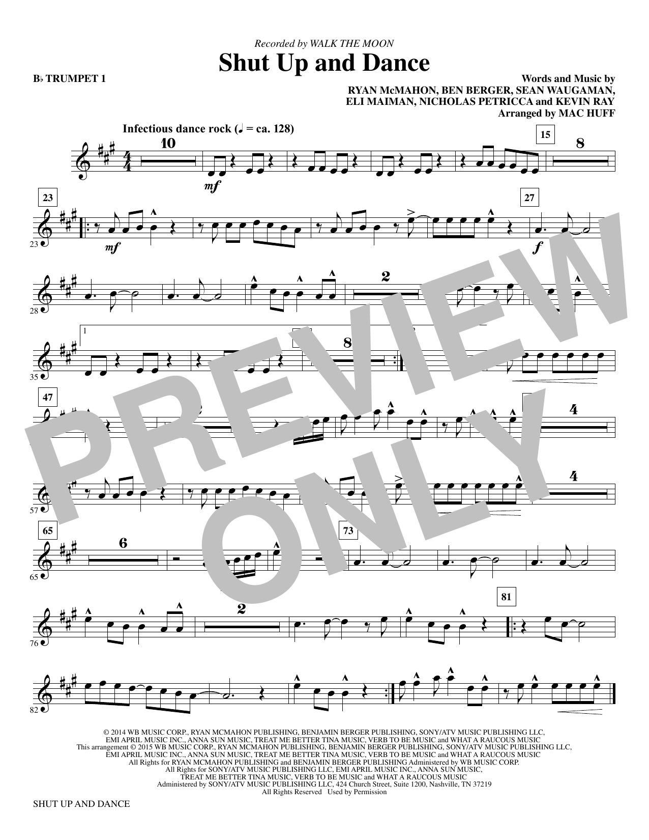 Shut Up and Dance (arr. Mac Huff) - Bb Trumpet 1 (Choir Instrumental Pak)