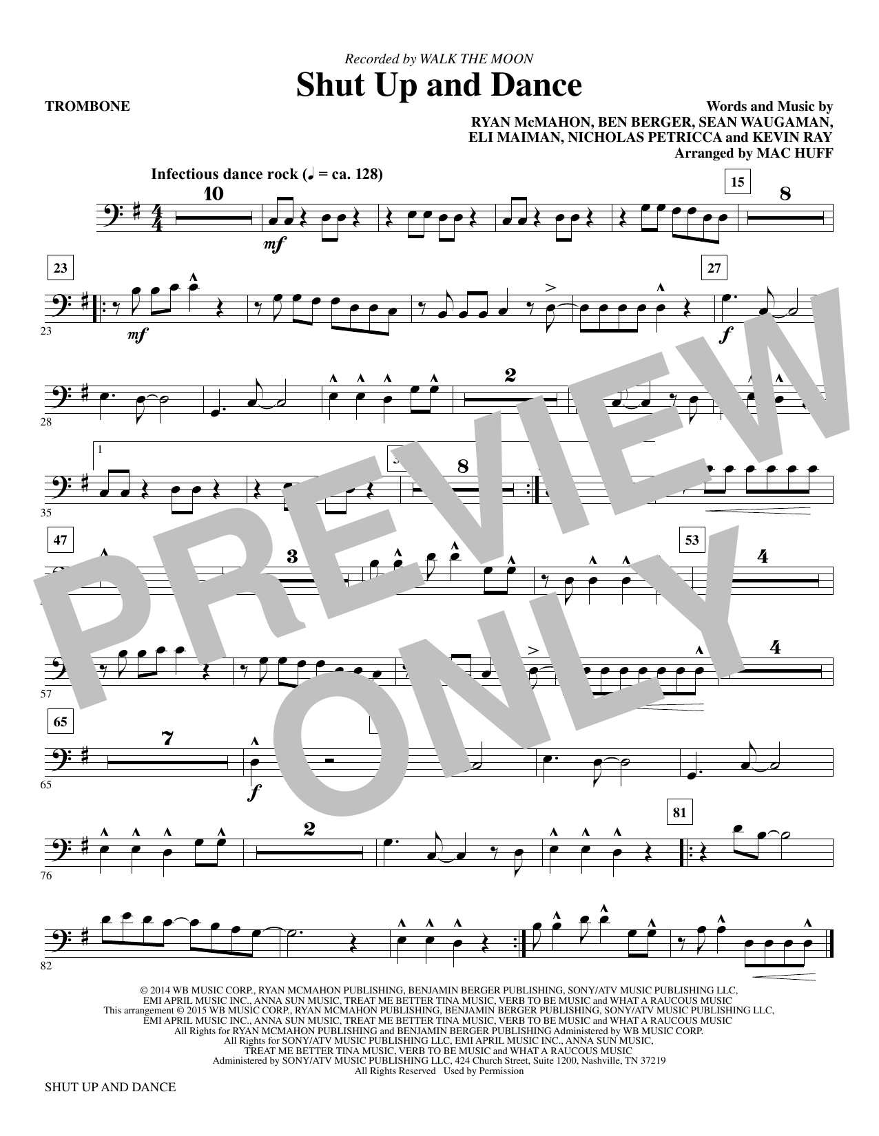 Shut Up and Dance (complete set of parts) sheet music for orchestra/band by Mac Huff, Kevin Ray, Nicholas Petricca, Ryan McMahon, Sean Waugaman and Walk The Moon. Score Image Preview.