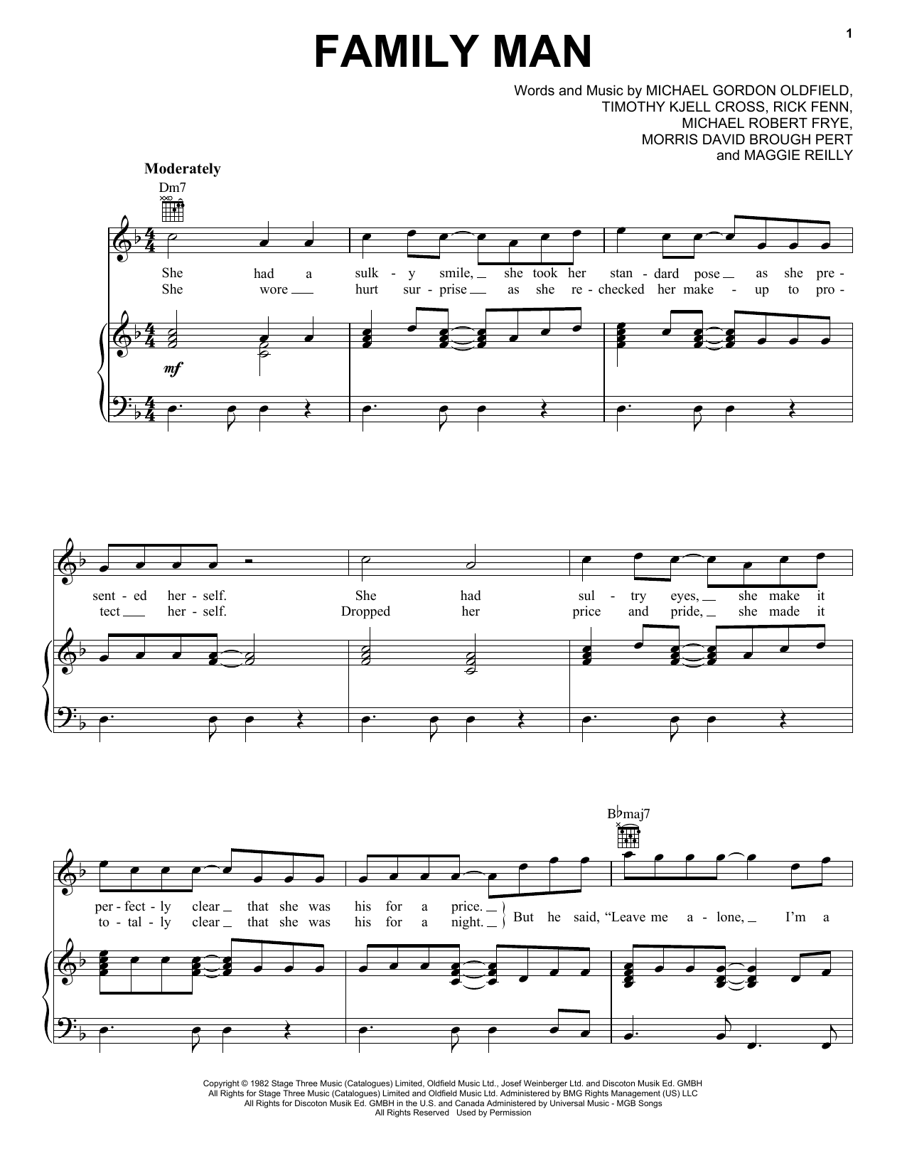 Family Man (Piano, Vocal & Guitar (Right-Hand Melody))