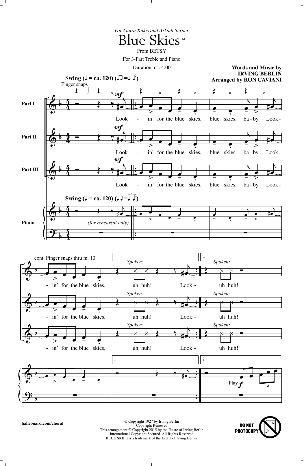 Blue Skies (arr. Ron Caviani) Sheet Music
