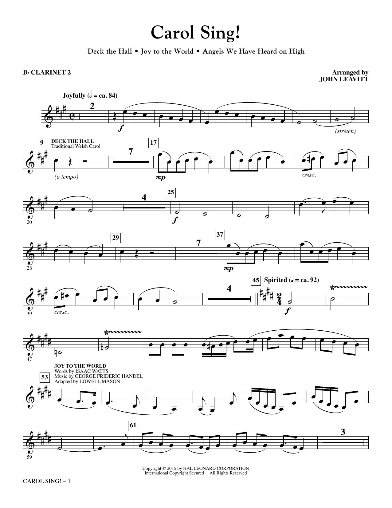 Carol Sing! - Bb Clarinet 2 (Choir Instrumental Pak)