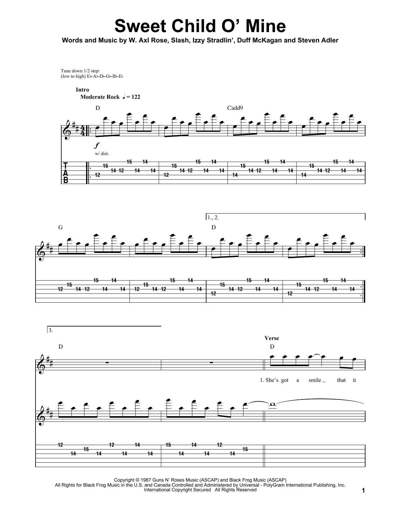 Sweet Child Ou0026#39; Mine sheet music by Guns Nu0026#39; Roses (Guitar Tab Play-Along u2013 161637)