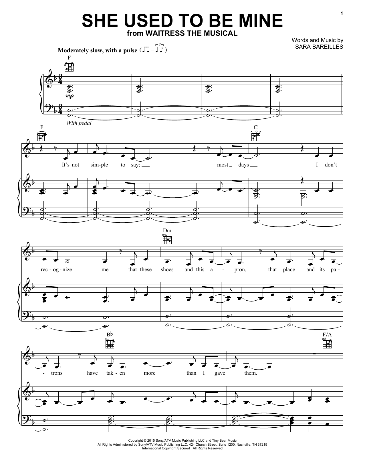 She Used To Be Mine Sheet Music