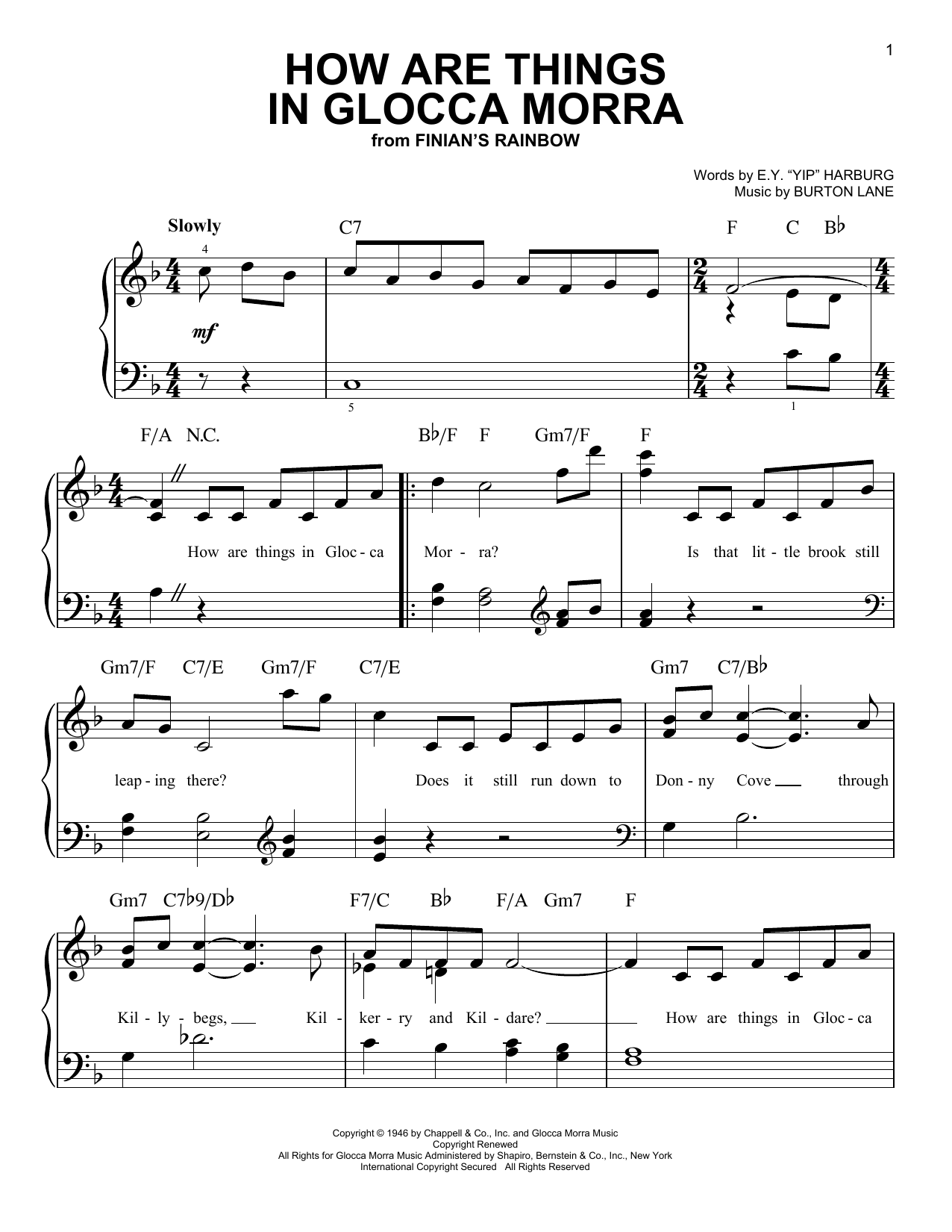 How Are Things In Glocca Morra Sheet Music