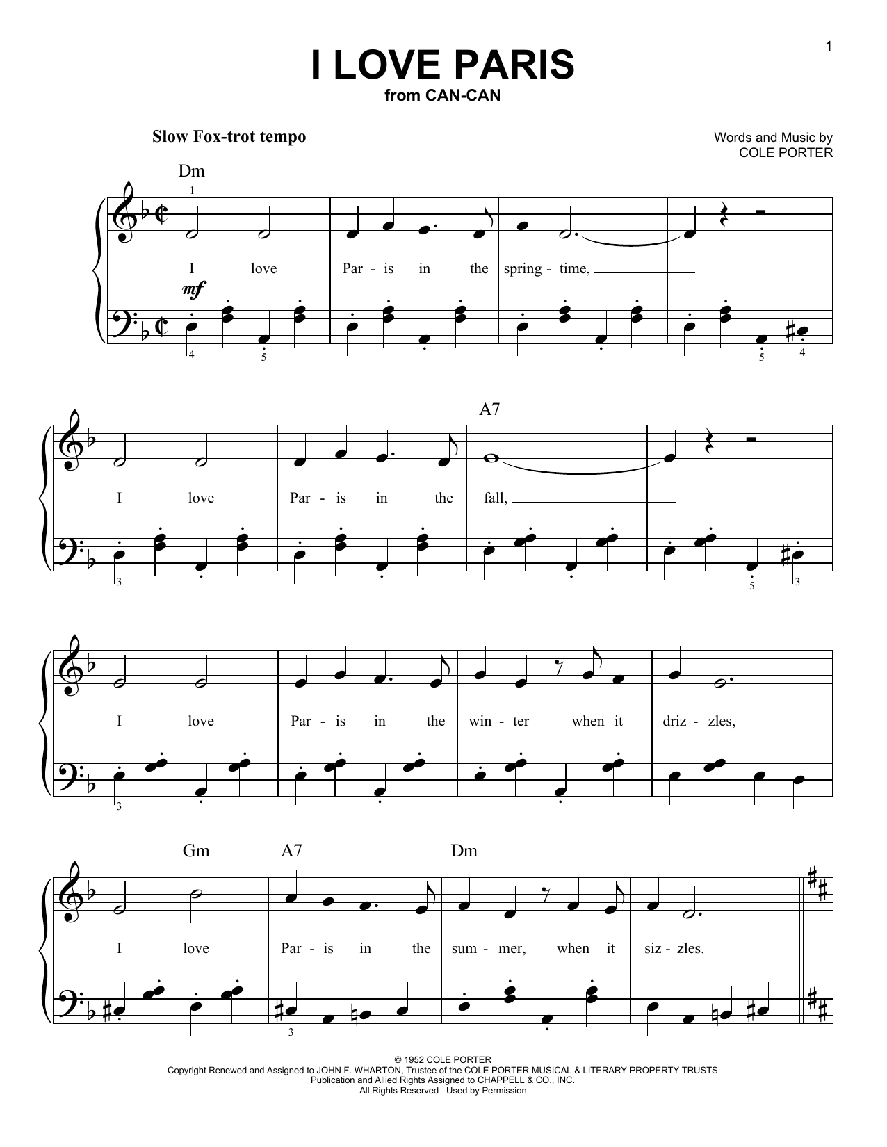 Partition piano I Love Paris de Cole Porter - Piano Facile