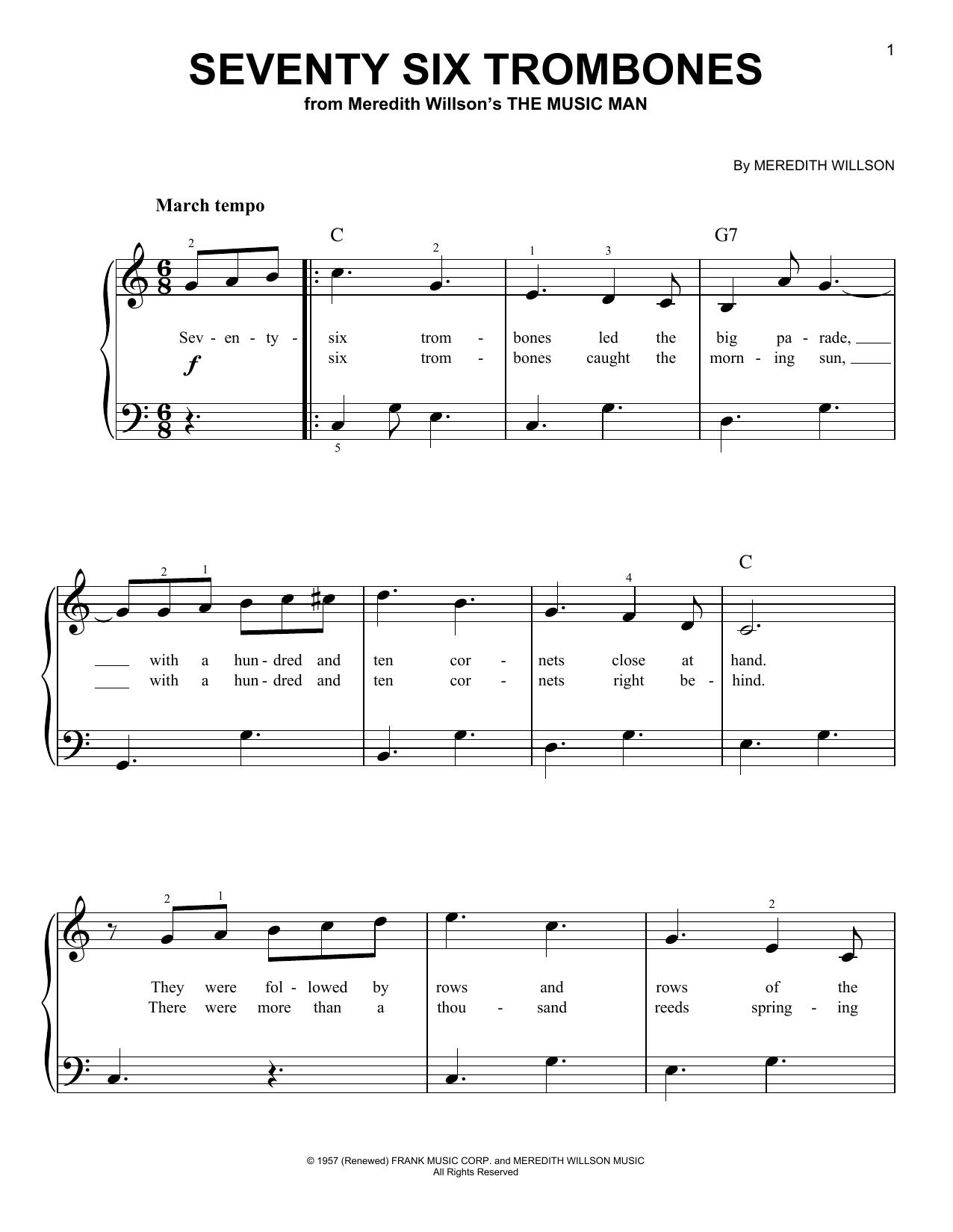 Partition piano Seventy Six Trombones de Meredith Willson - Piano Facile