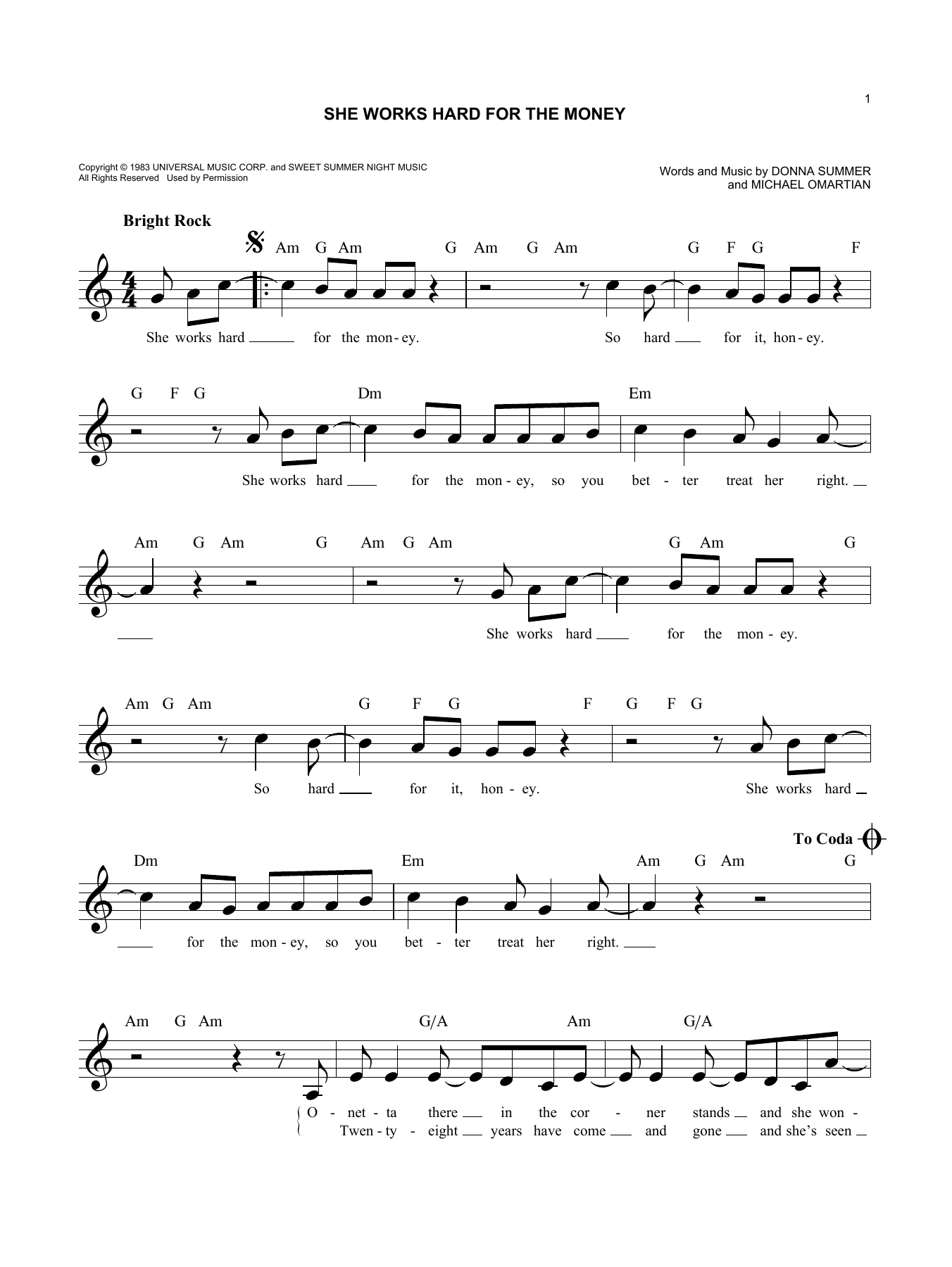 She Works Hard For The Money (Lead Sheet / Fake Book)
