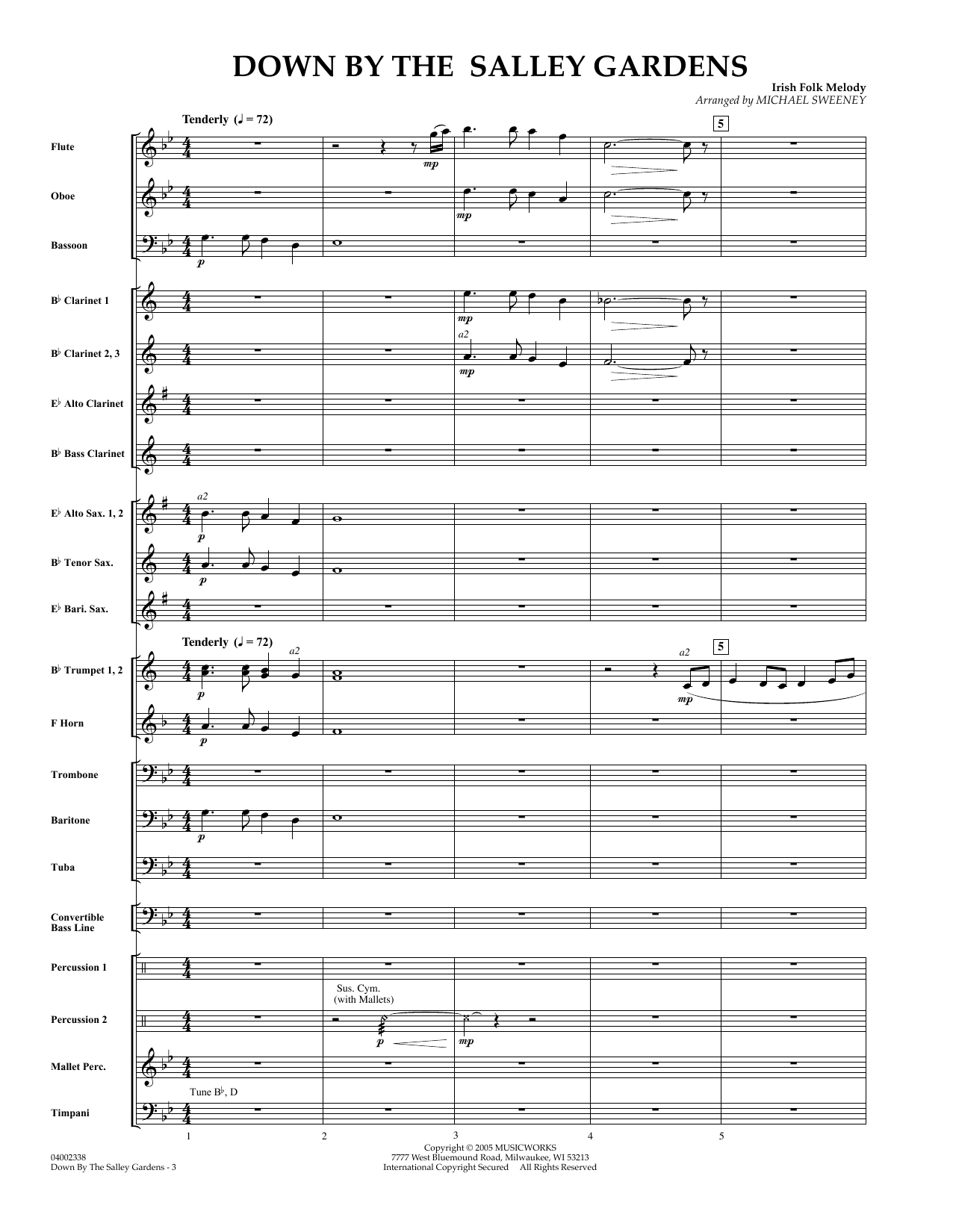 Down by the Salley Gardens (COMPLETE) sheet music for concert band by William Butler Yeats and Michael Sweeney. Score Image Preview.