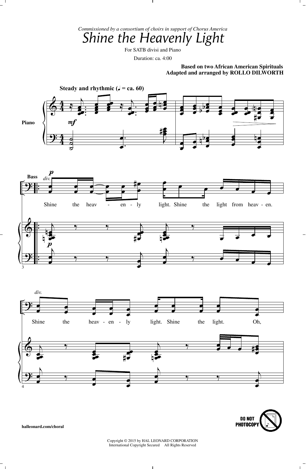 Shine The Heavenly Light Sheet Music