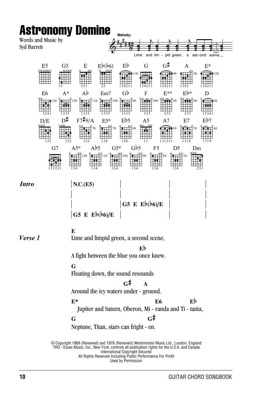 astronomy domine chords - photo #3