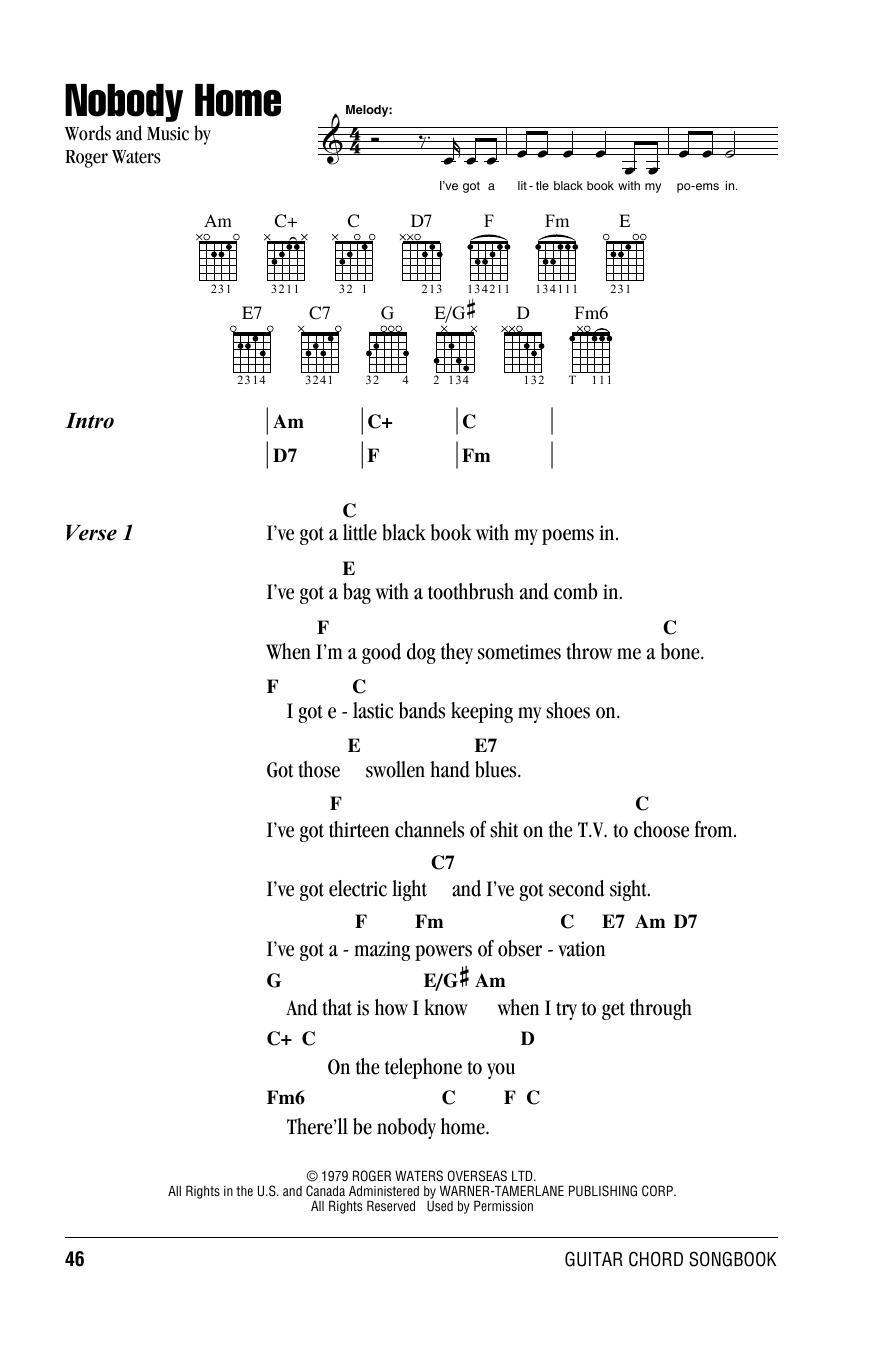 Nobody Home Sheet Music By Pink Floyd Lyrics Chords 161679