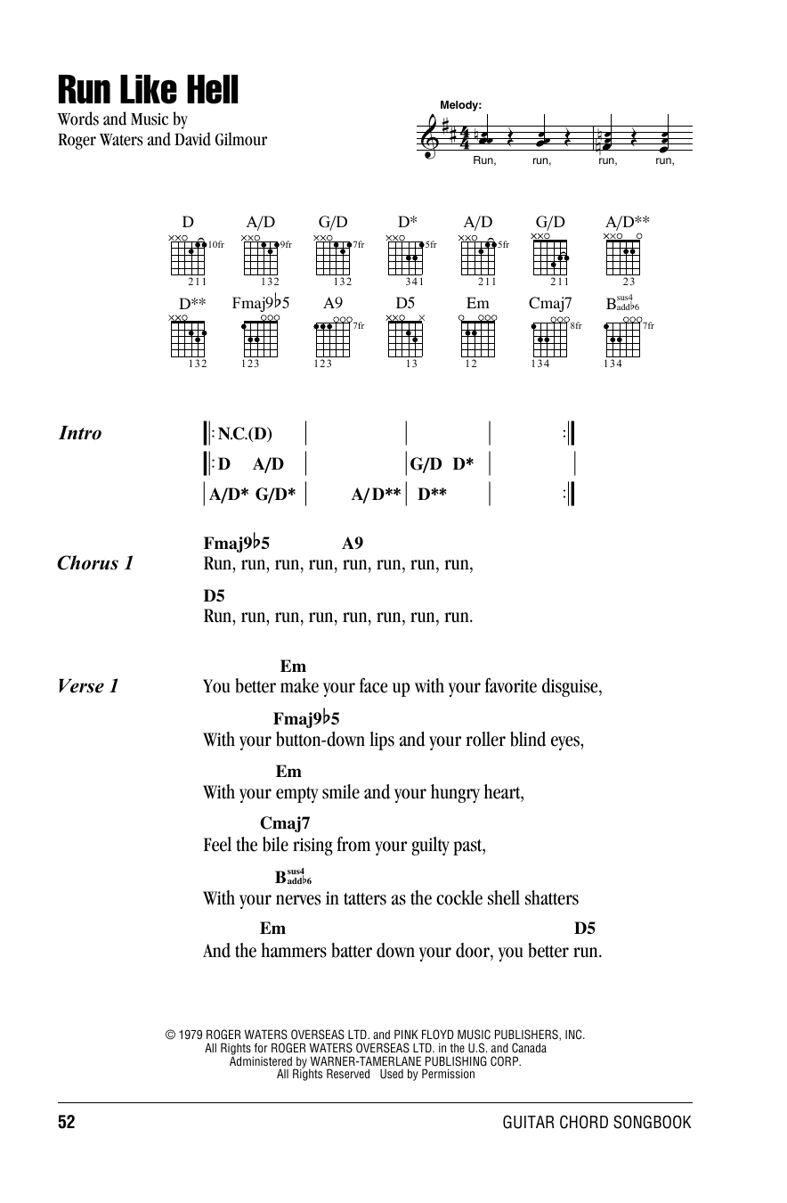 Run Like Hell (Guitar Chords/Lyrics)