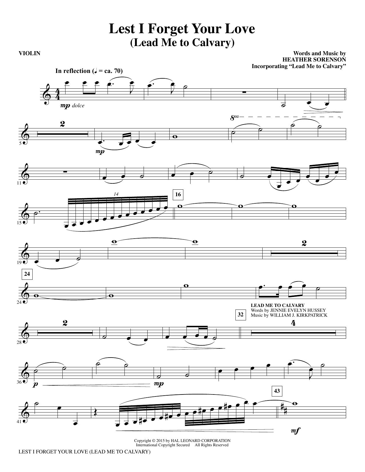 Lest I Forget Your Love - Violin (Choir Instrumental Pak)