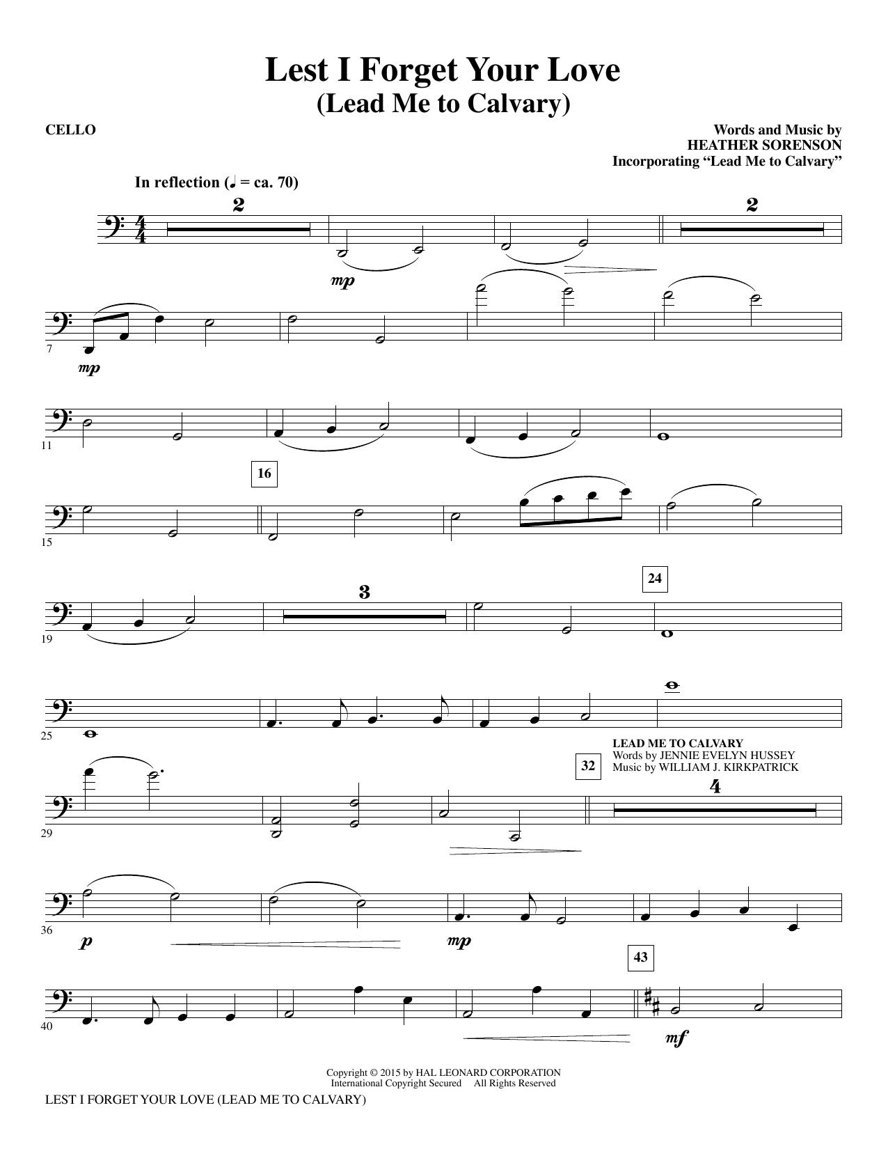 Lest I Forget Your Love - Cello (Choir Instrumental Pak)