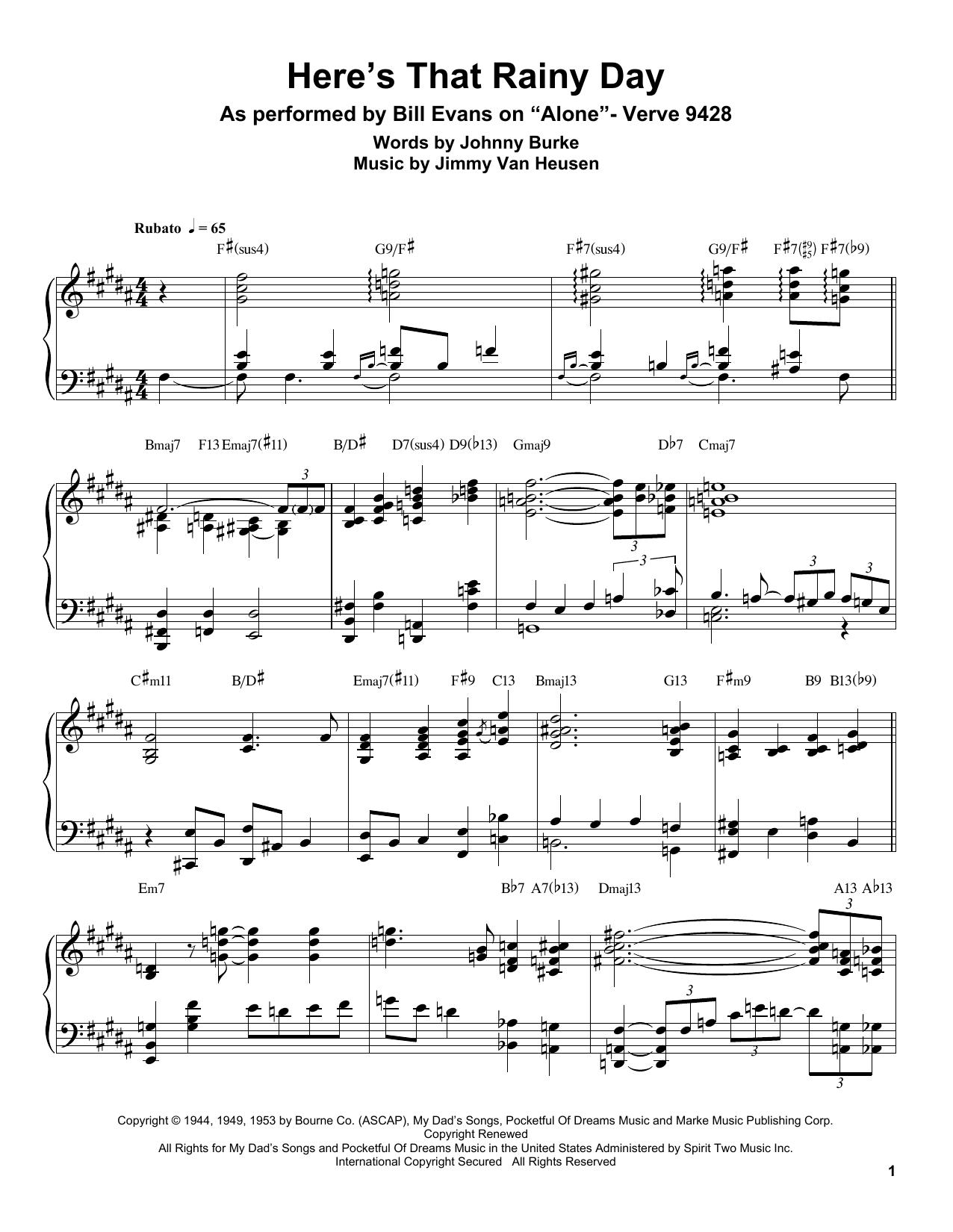 Here's That Rainy Day Sheet Music