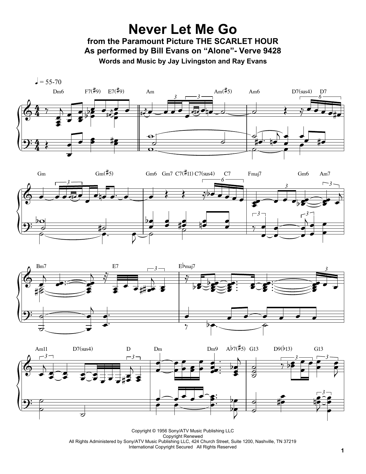 Never Let Me Go Sheet Music