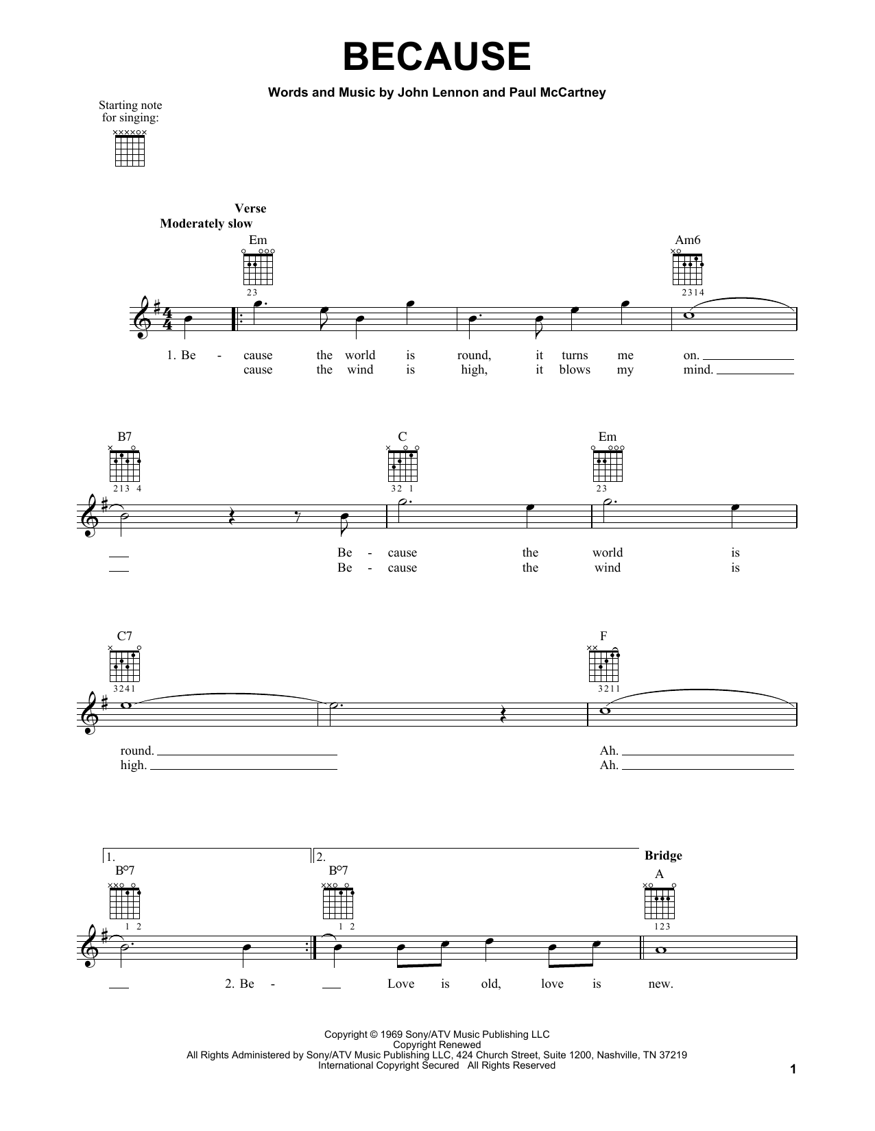 Tablature guitare Because de The Beatles - Tablature guitare facile