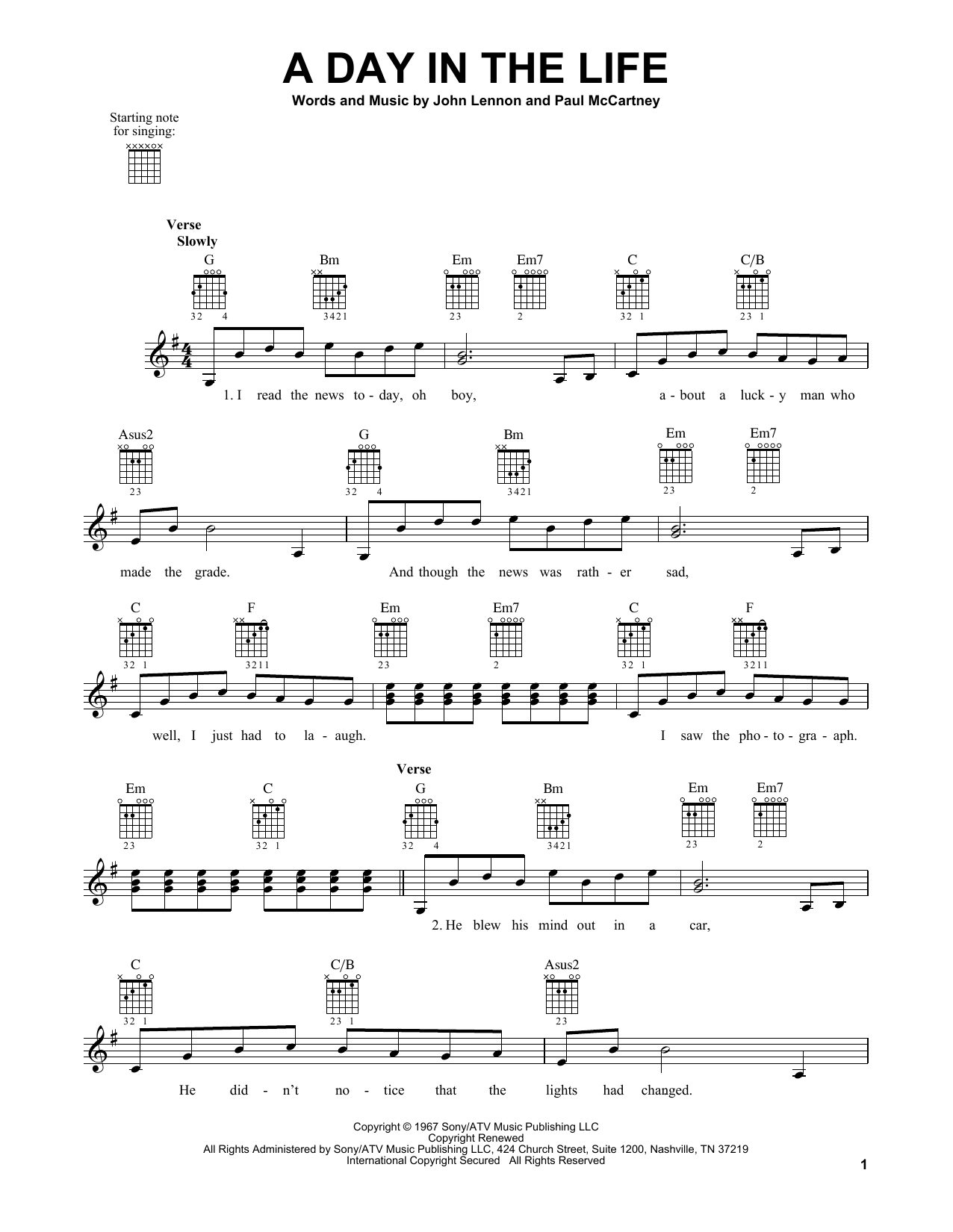 Tablature guitare A Day In The Life de The Beatles - Tablature guitare facile