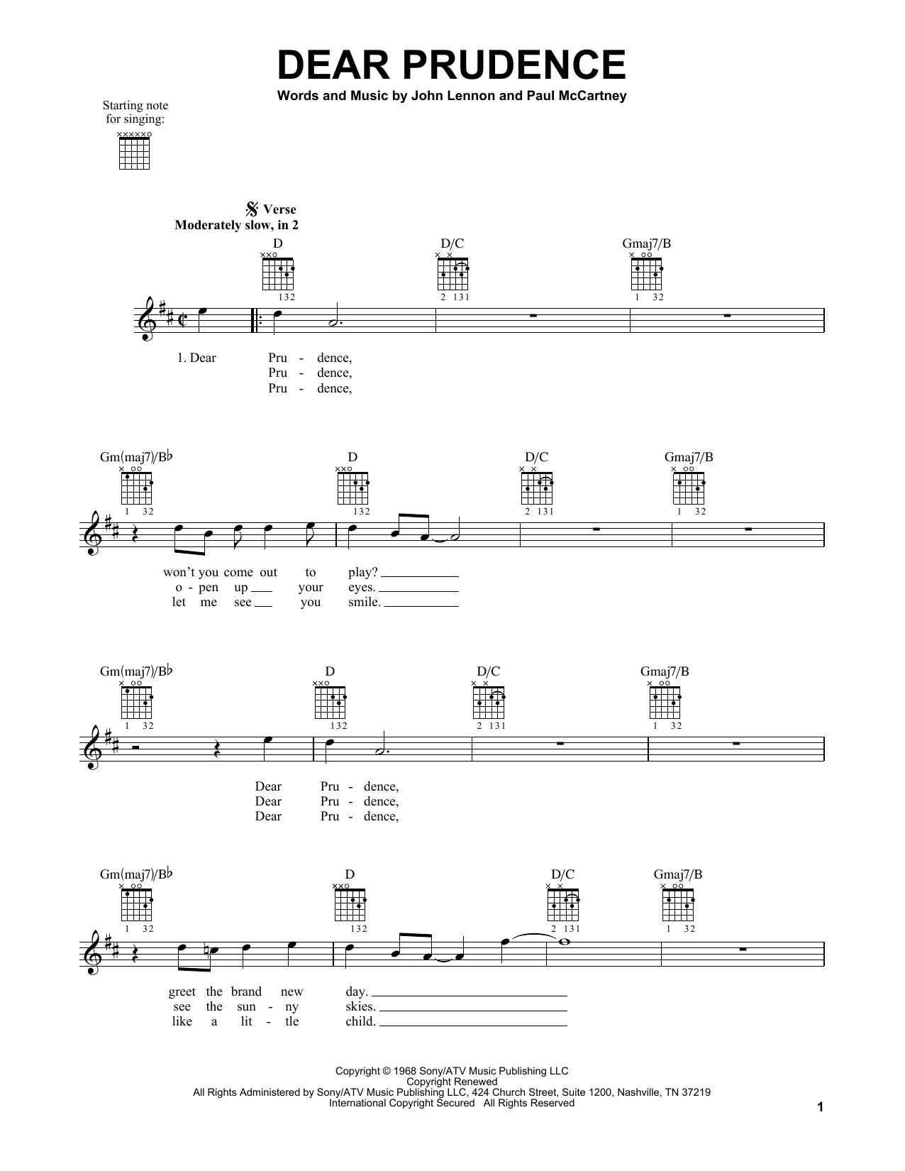 Tablature guitare Dear Prudence de The Beatles - Tablature guitare facile