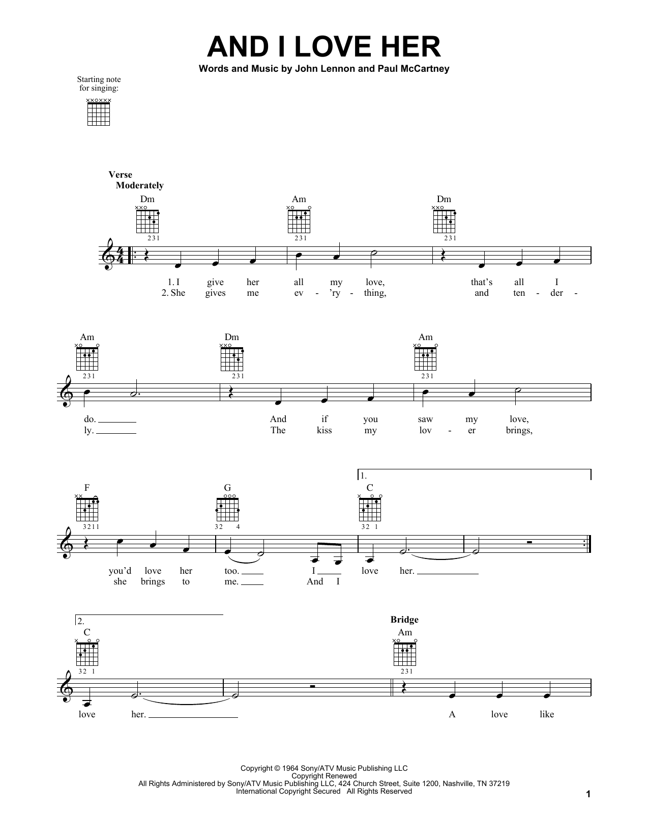 Tablature guitare And I Love Her de The Beatles - Tablature guitare facile
