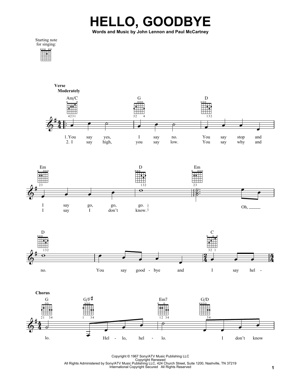 Tablature guitare Hello, Goodbye de The Beatles - Tablature guitare facile