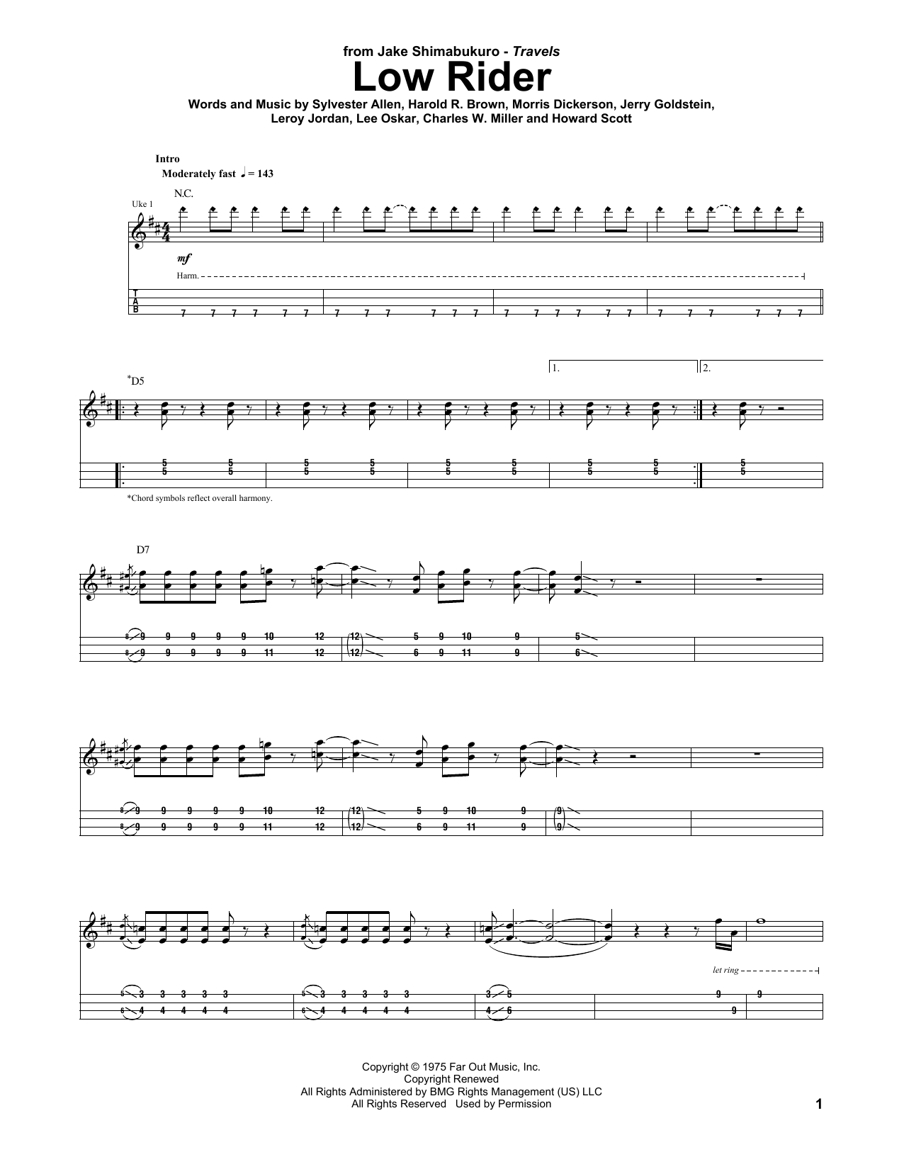 Low Rider Sheet Music