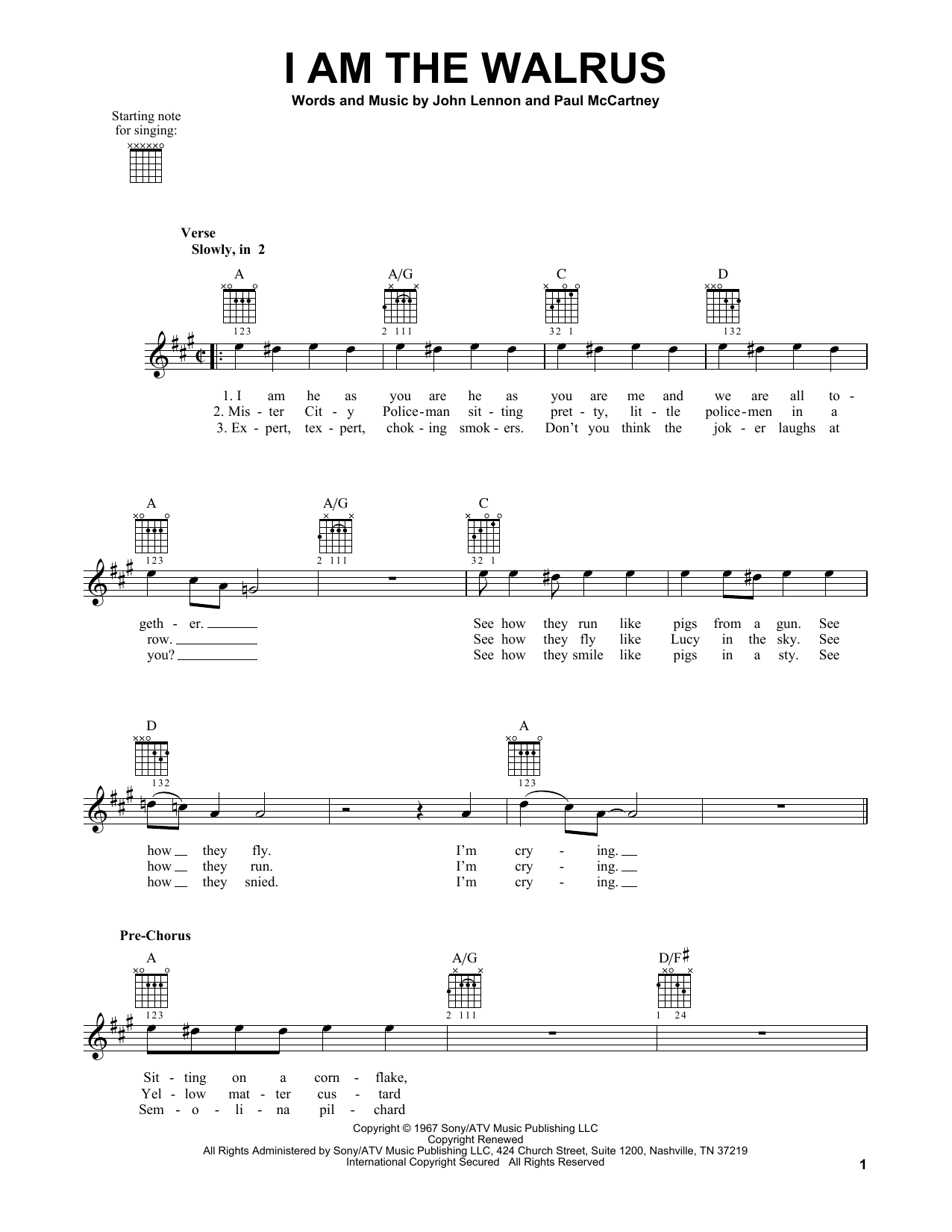 Tablature guitare I Am The Walrus de The Beatles - Tablature guitare facile