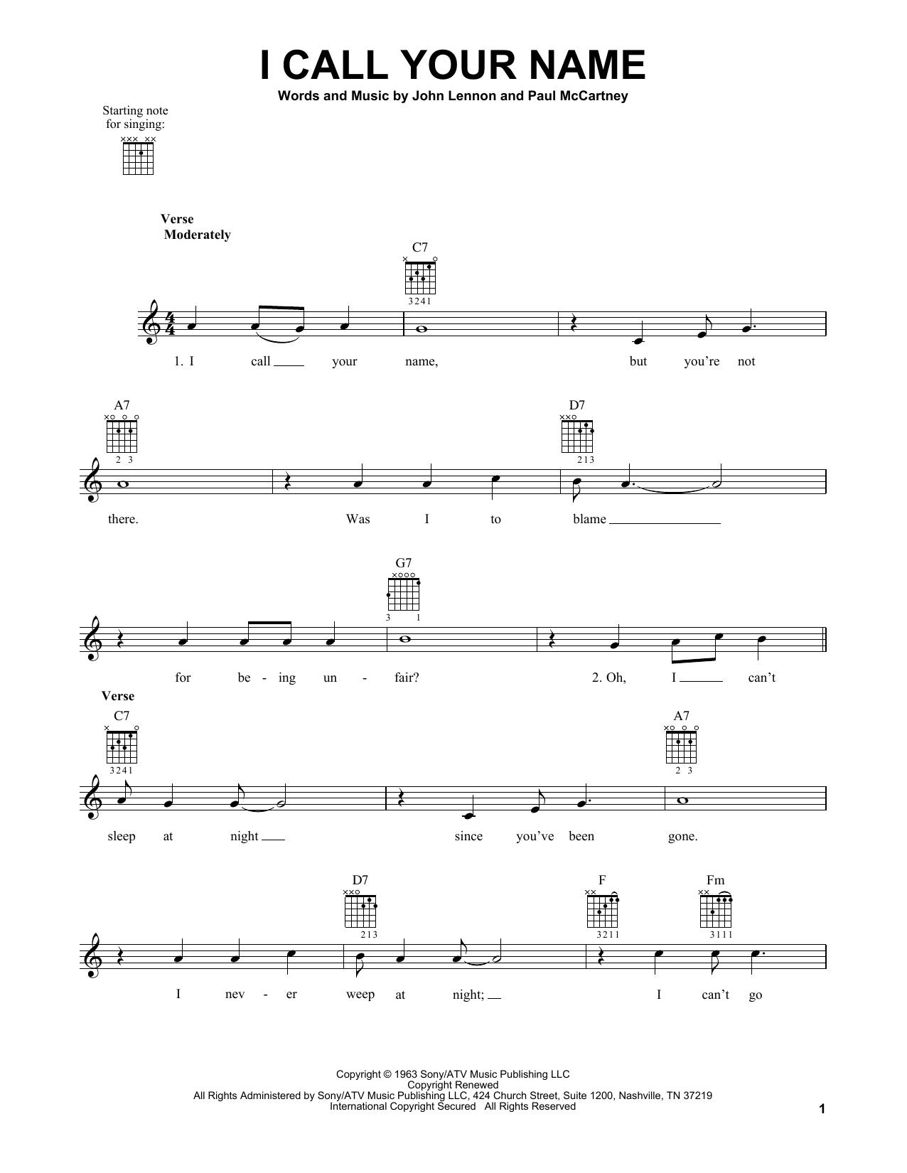 Tablature guitare I Call Your Name de The Beatles - Tablature guitare facile