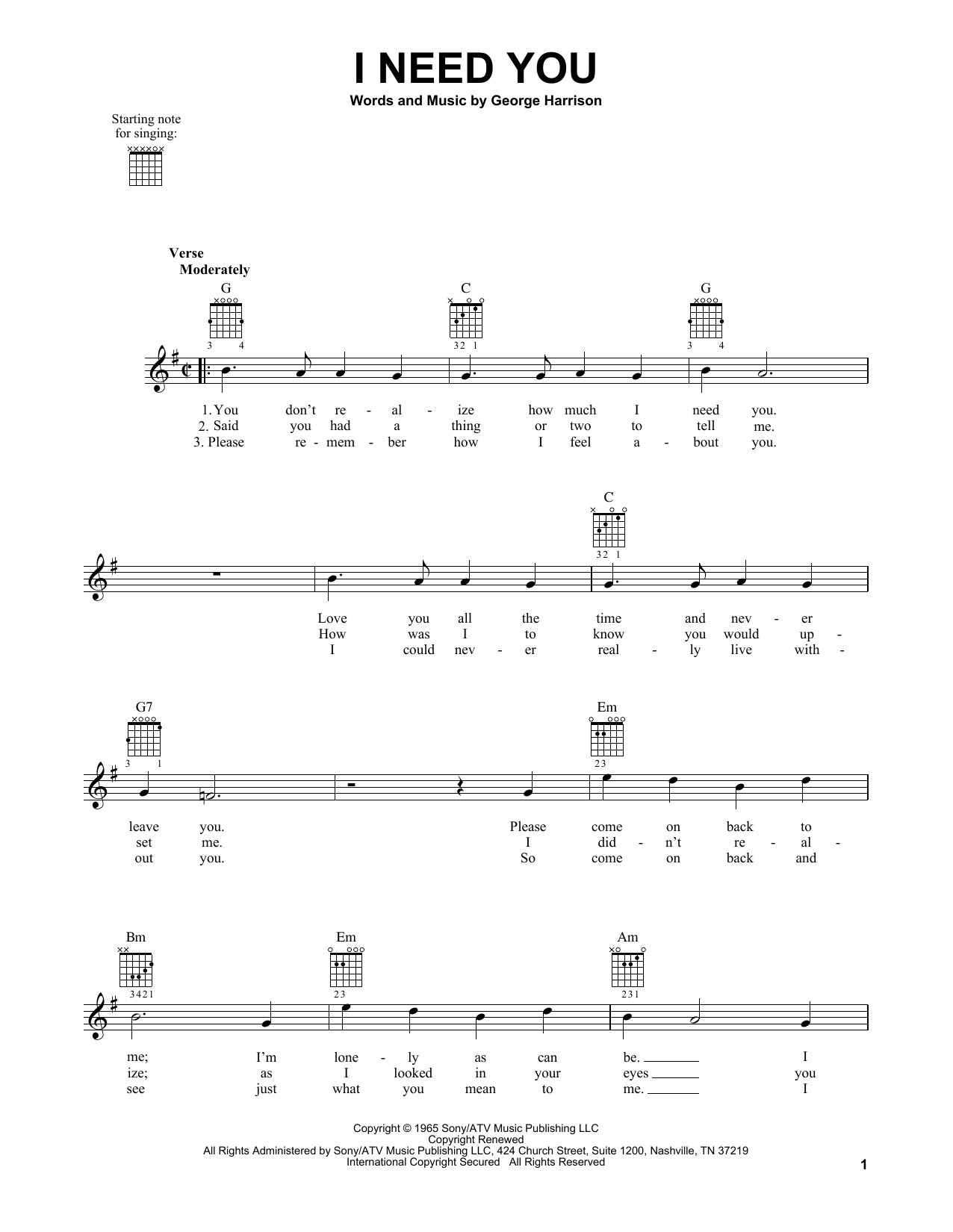 Tablature guitare I Need You de The Beatles - Tablature guitare facile
