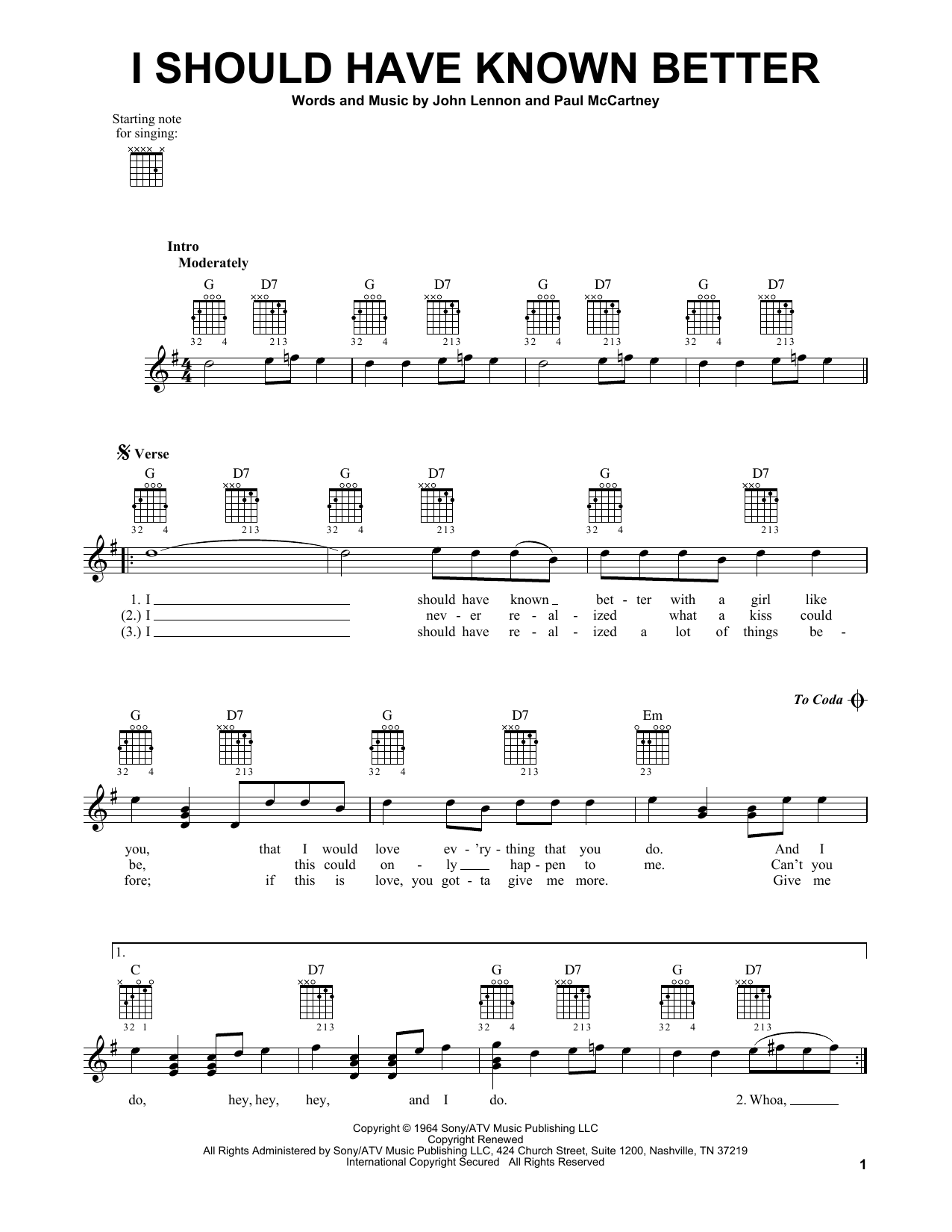 Tablature guitare I Should Have Known Better de The Beatles - Tablature guitare facile