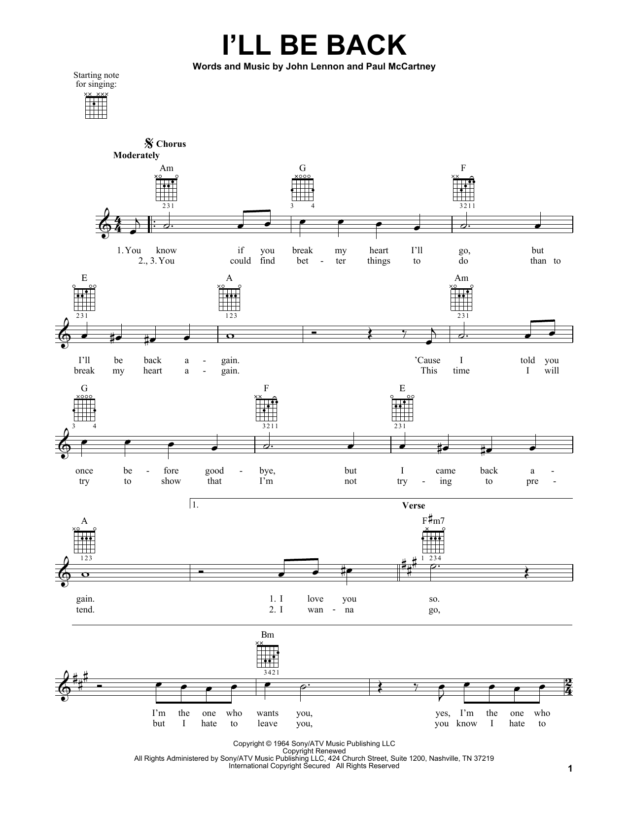 Tablature guitare I'll Be Back de The Beatles - Tablature guitare facile