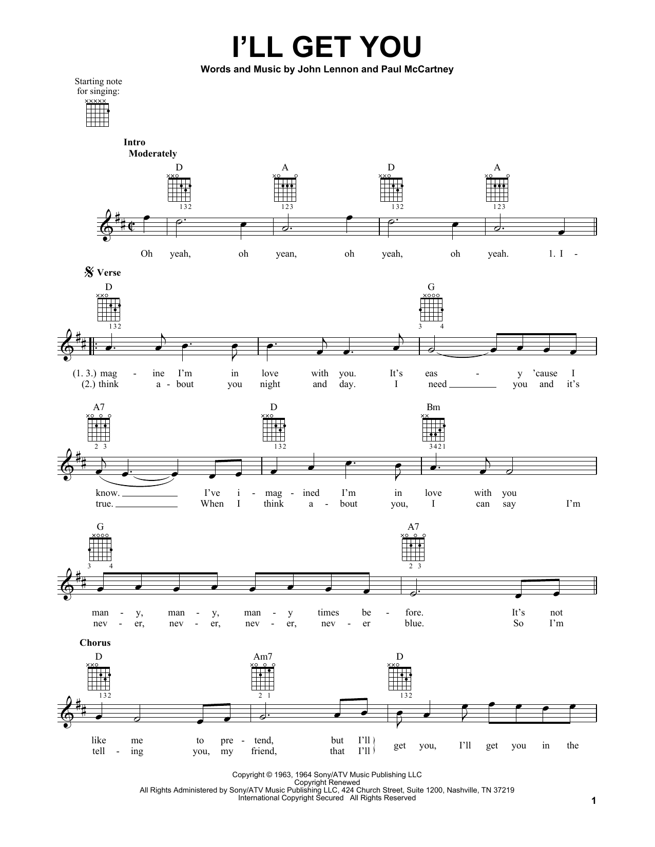Tablature guitare I'll Get You de The Beatles - Tablature guitare facile