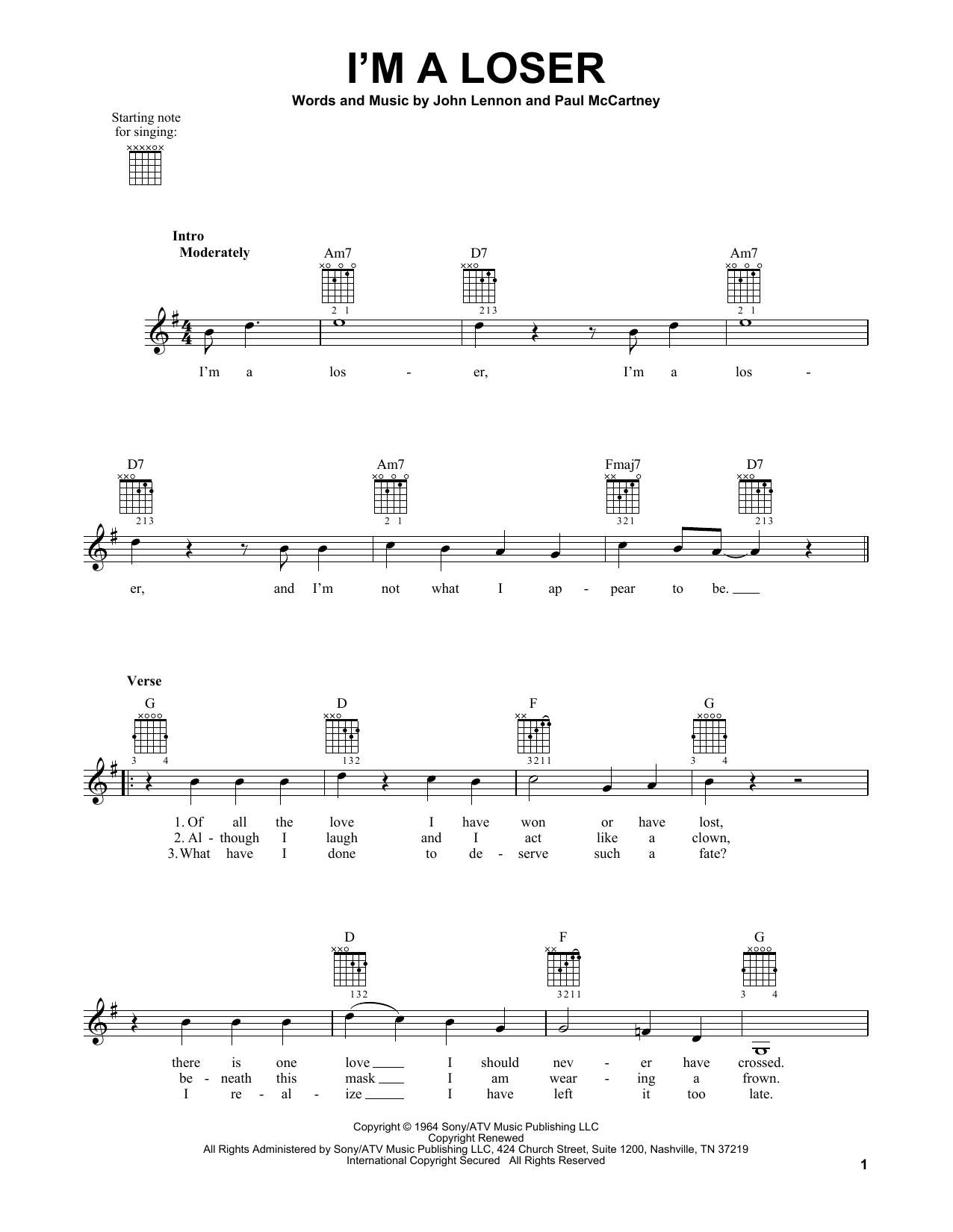 Tablature guitare I'm A Loser de The Beatles - Tablature guitare facile