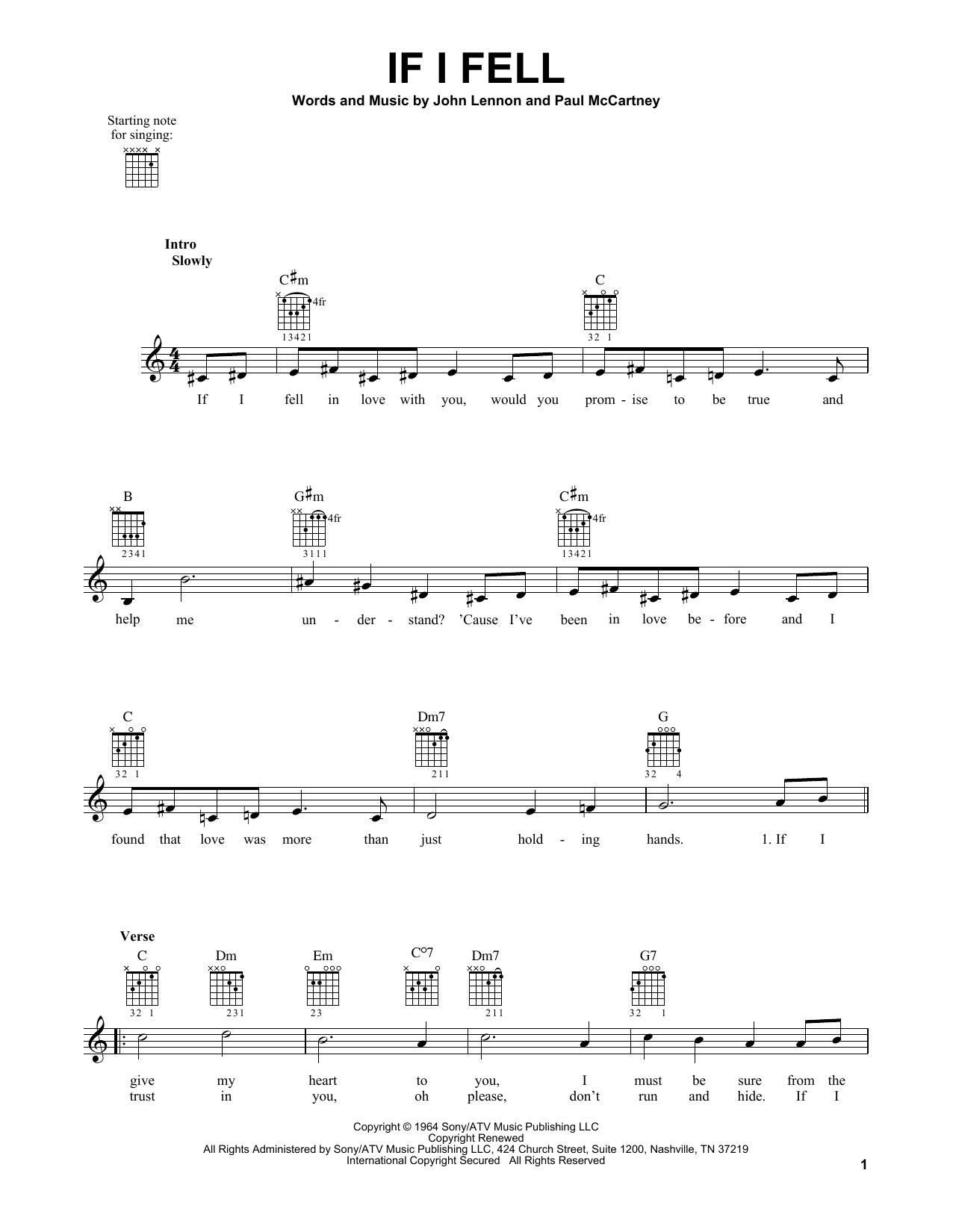 Tablature guitare If I Fell de The Beatles - Tablature guitare facile