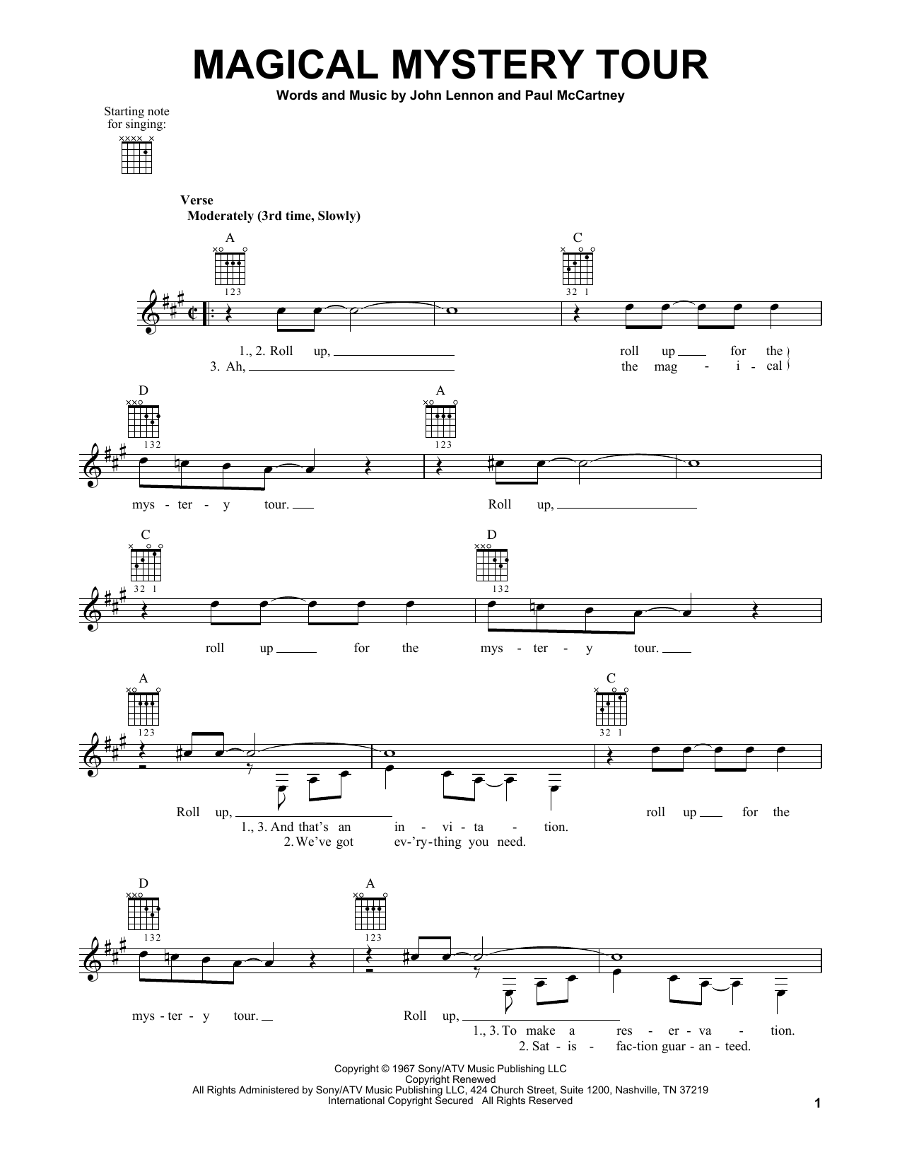 Tablature guitare Magical Mystery Tour de The Beatles - Tablature guitare facile