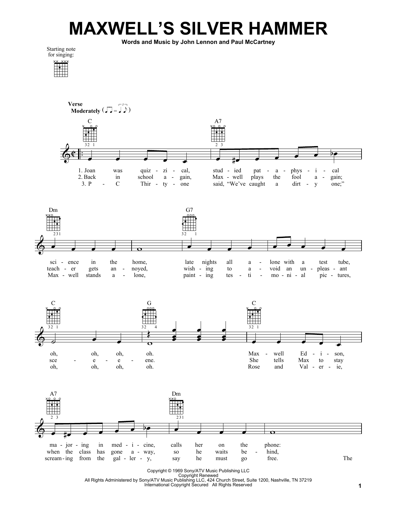 Tablature guitare Maxwell's Silver Hammer de The Beatles - Tablature guitare facile