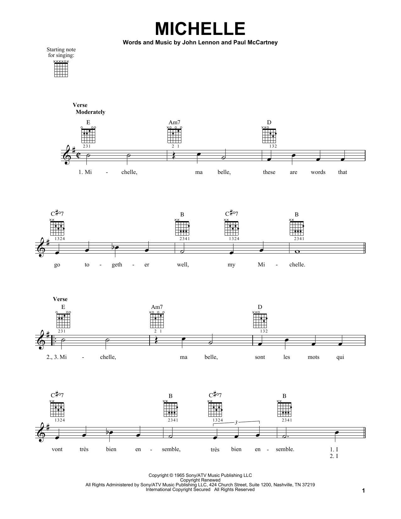 Tablature guitare Michelle de The Beatles - Tablature guitare facile