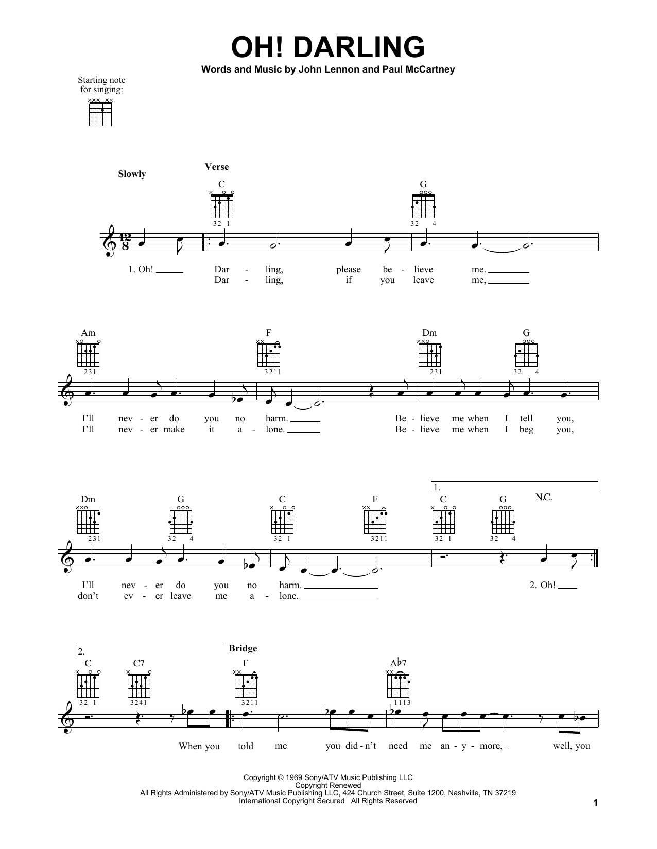 Tablature guitare Oh! Darling de The Beatles - Tablature guitare facile