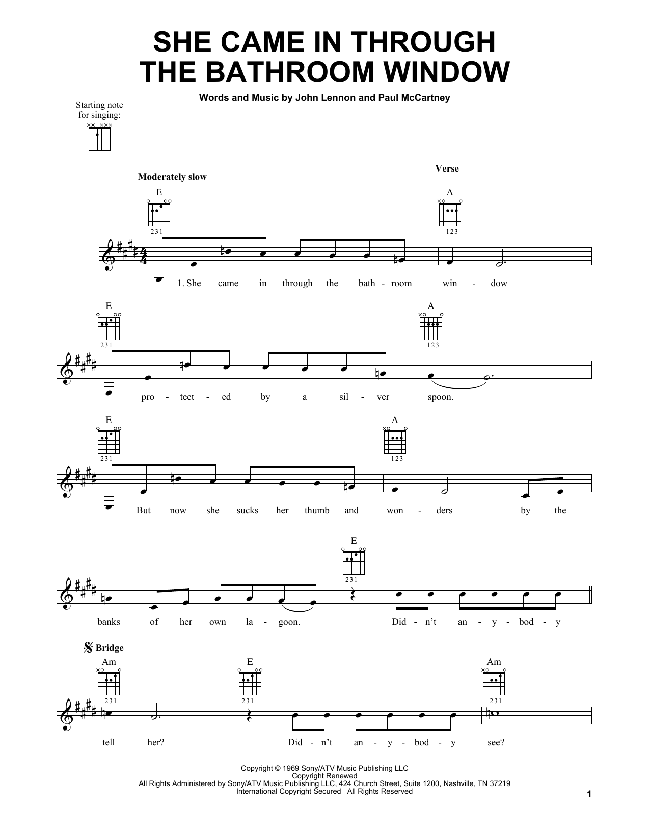 Tablature guitare She Came In Through The Bathroom Window de The Beatles - Tablature guitare facile